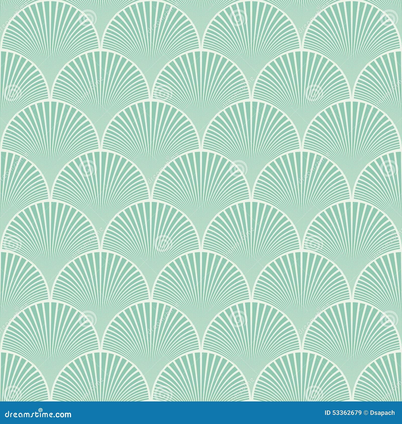 Вектор картины волн безшовного стиля Арт Деко бирюзы японского флористический