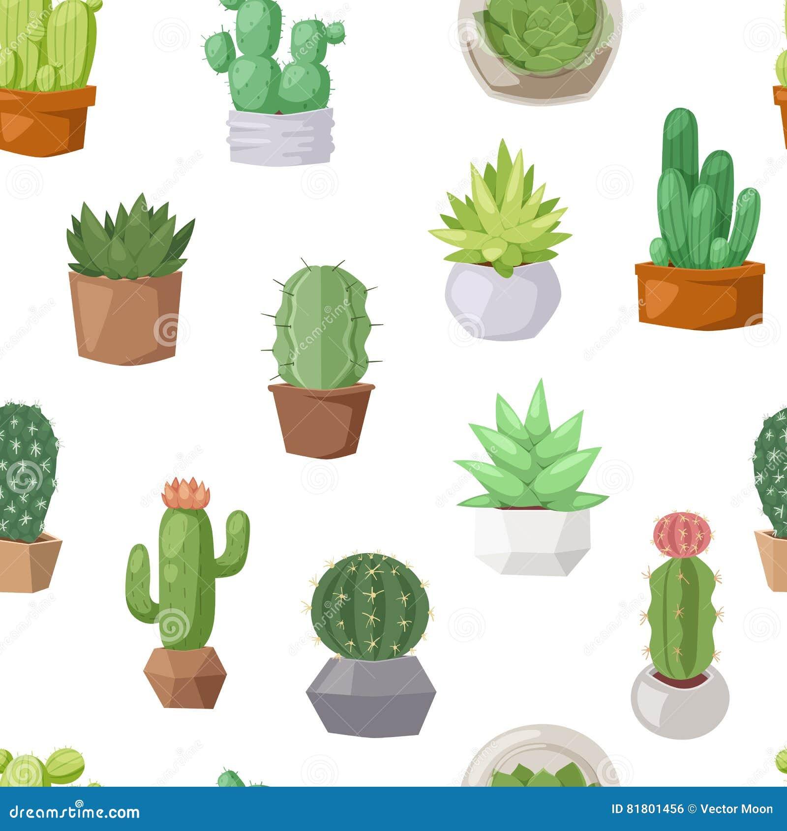 Вектор картины doodle кактуса безшовный