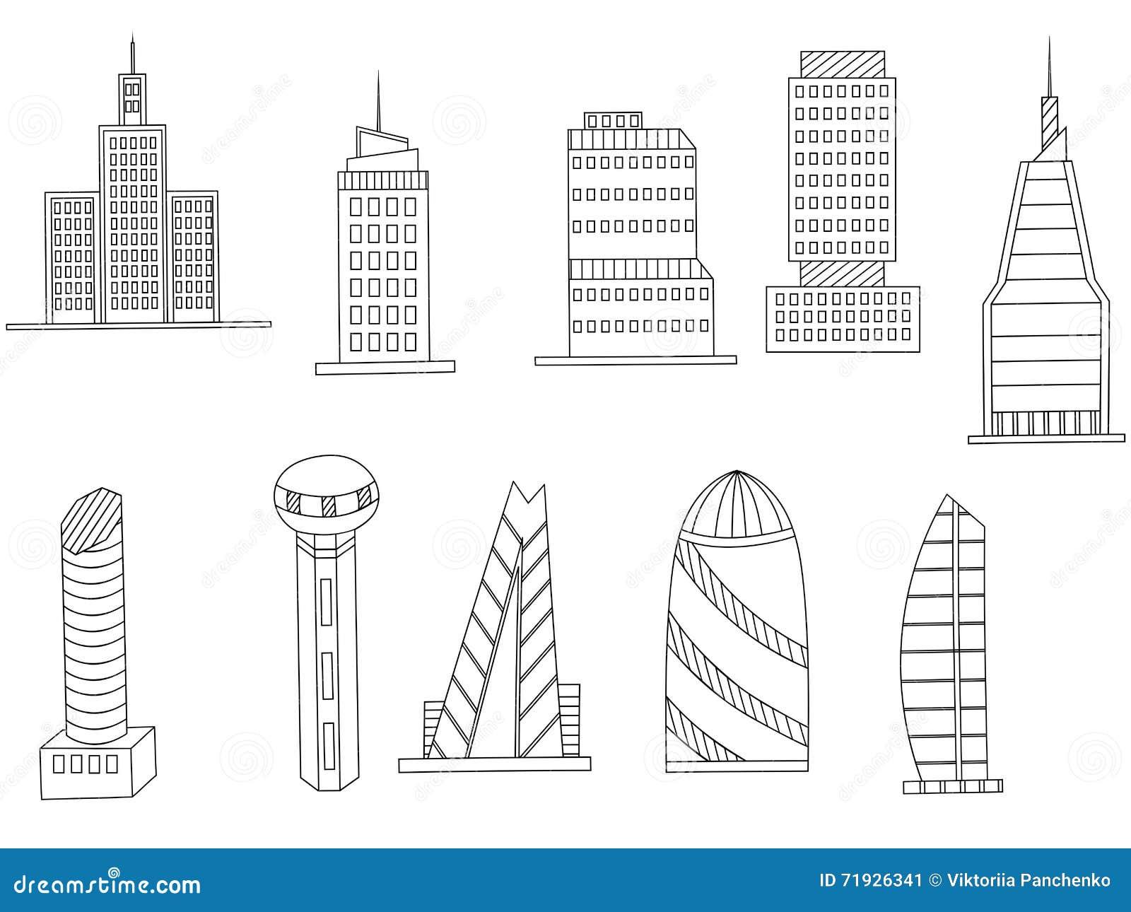 Вектор книжка-раскраски высоких зданий