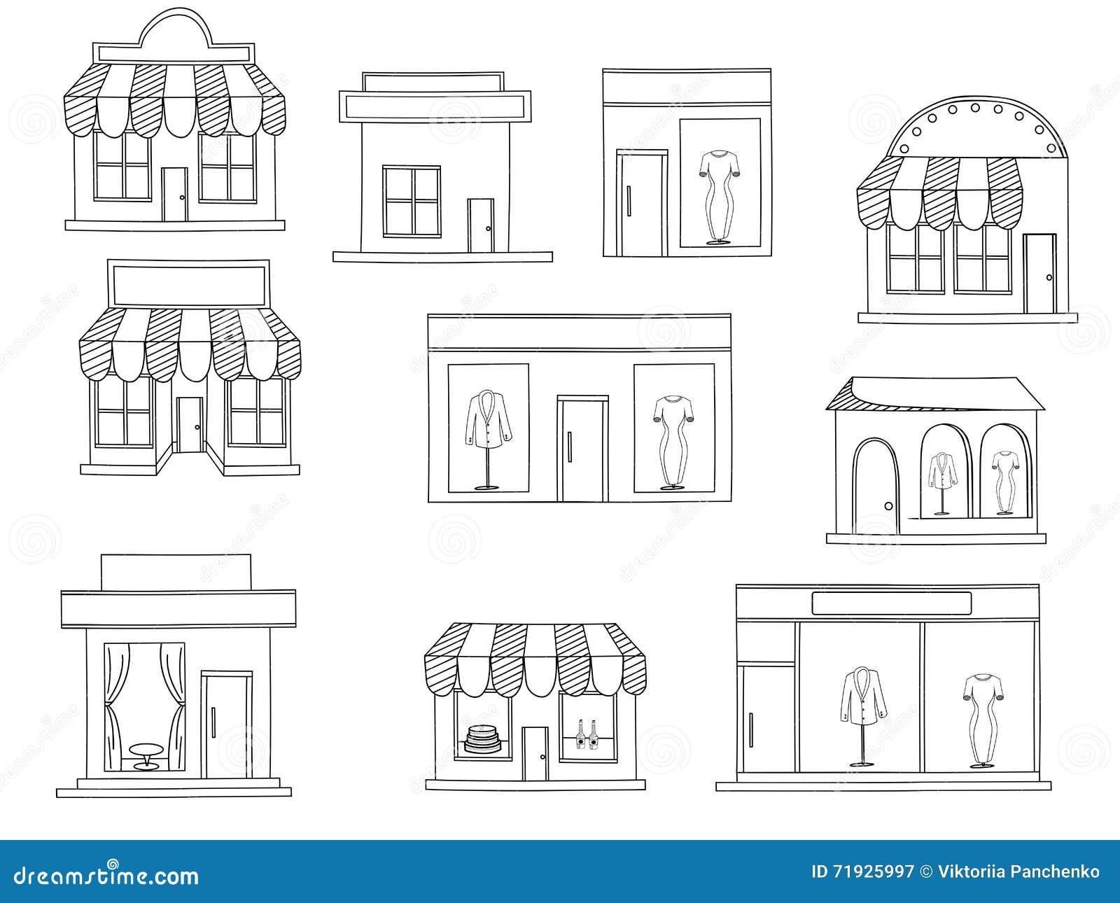 Вектор книжка-раскраски зданий магазина
