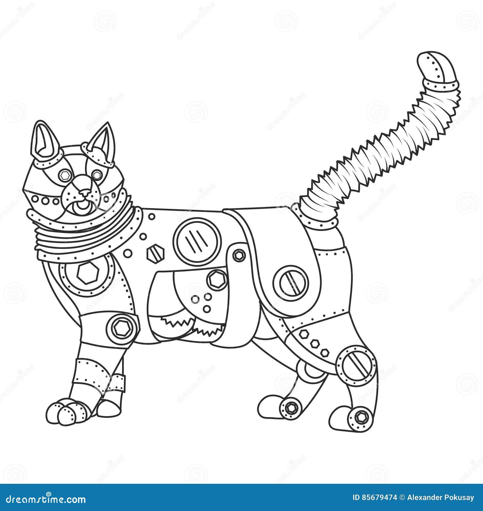 вектор книжка раскраски кота стиля Steampunk иллюстрация