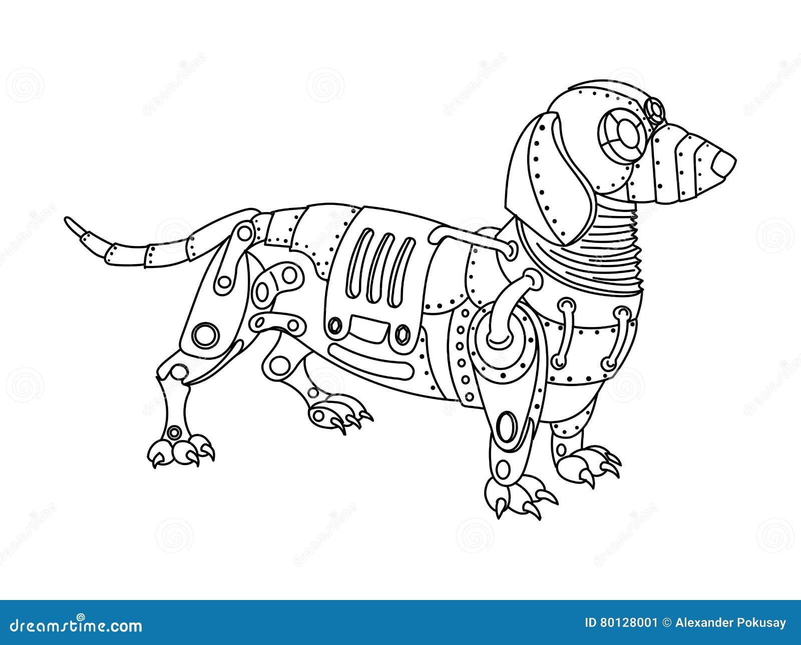 вектор книжка раскраски собаки таксы стиля Steampunk