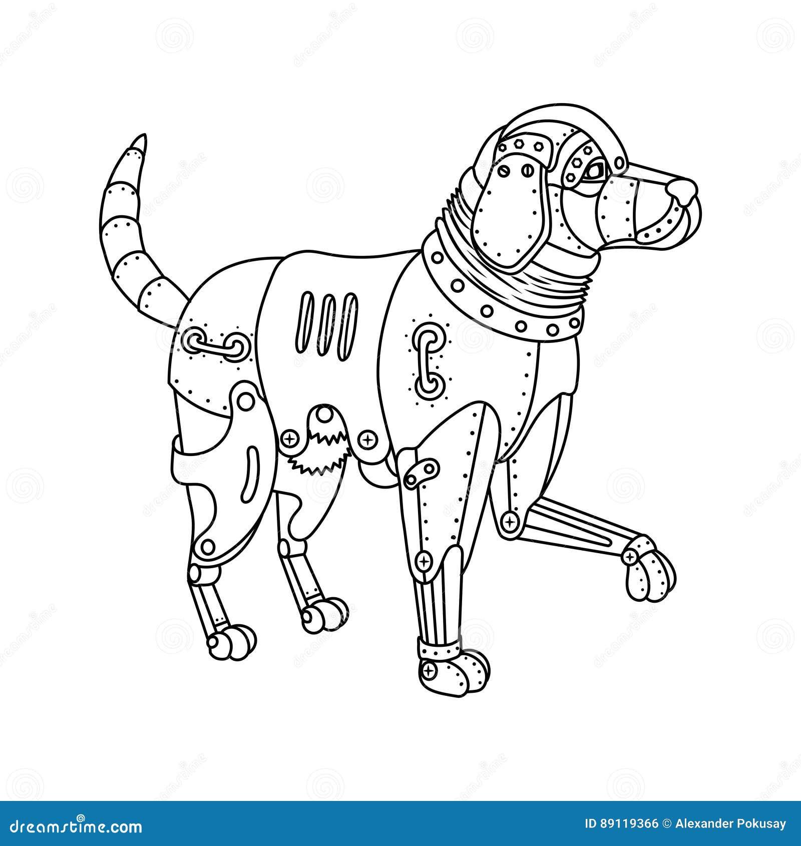Вектор книжка-раскраски собаки Retriever пара панковский ...