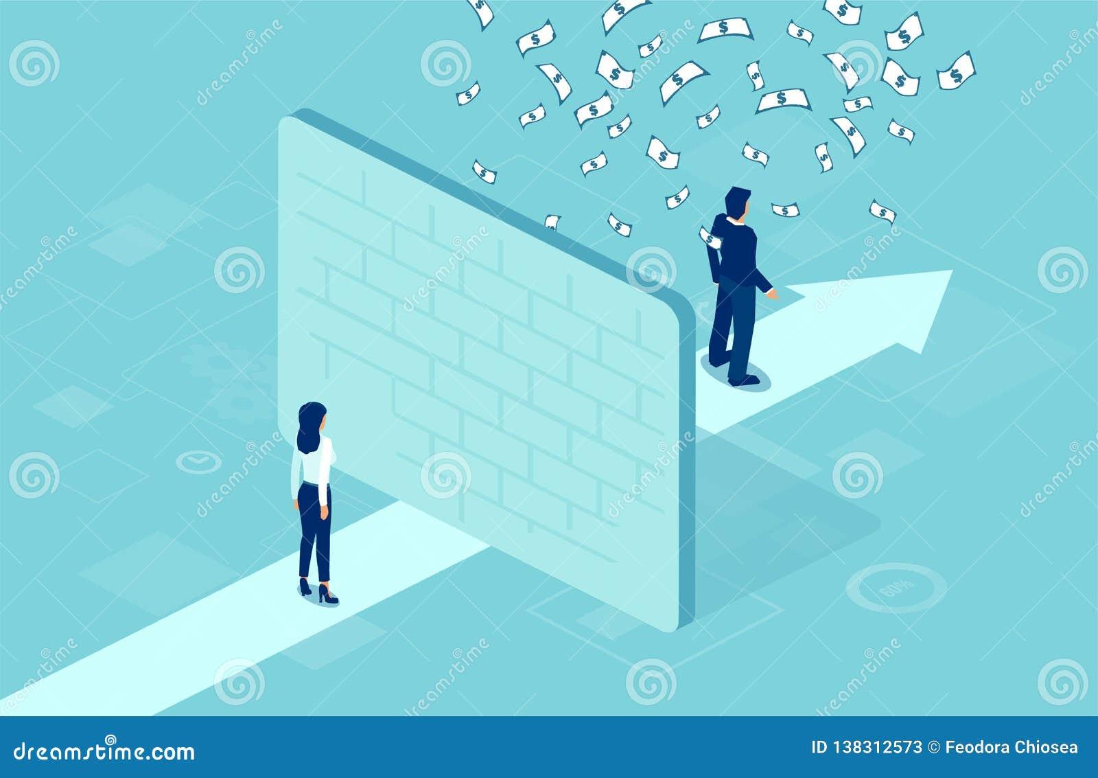 Вектор коммерсантки отделенной стеной от бизнесмена под дождем денег