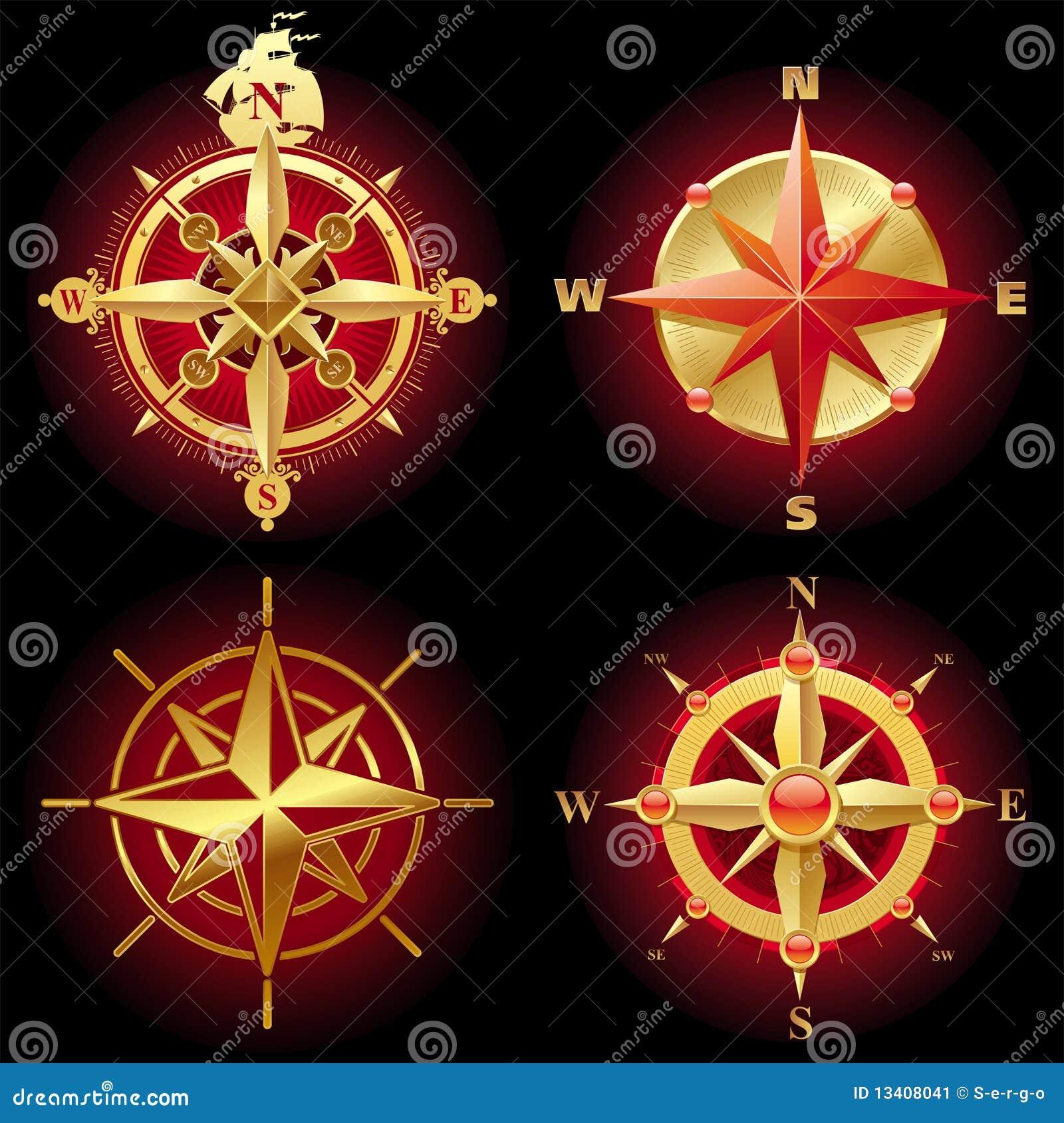вектор компаса золотистый розовый