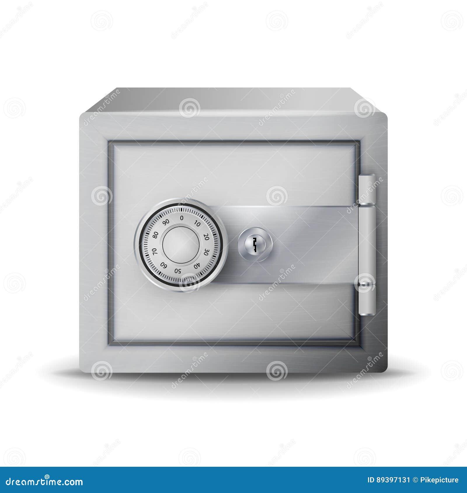 Вектор металла безопасный реалистический Безопасная залемь иллюстрация 3D сейфа или сейфа безопасности в ключевом коде