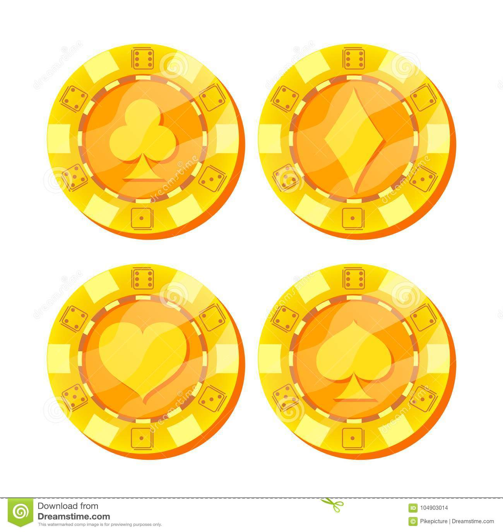 Вектор обломоков покера Карточка одевает знак Плоский, комплект шаржа Деньги игры Игра в покер золота откалывает знак изолированн