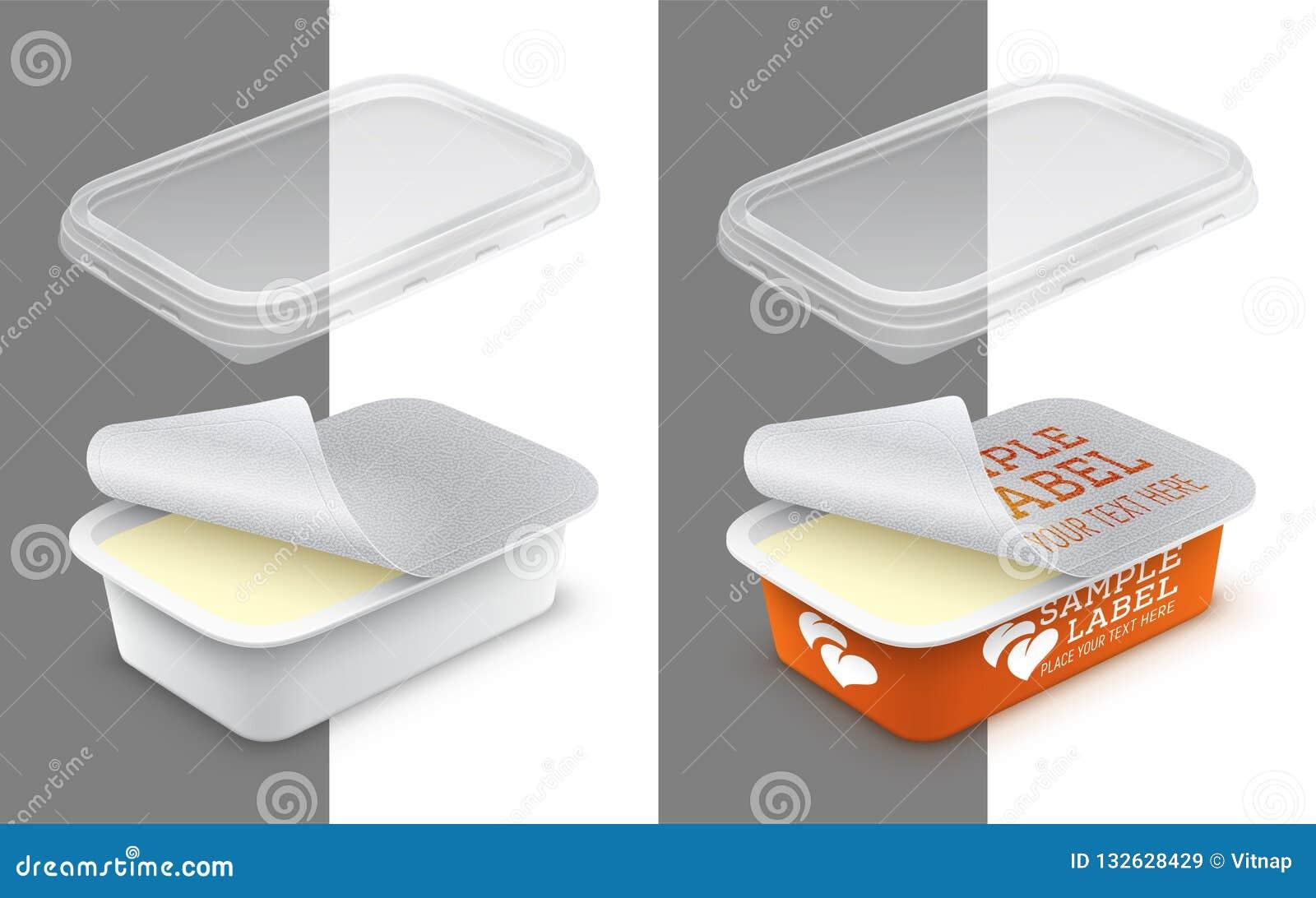 Вектор обозначил открытый прямоугольный пластмасовый контейнер с фольгой