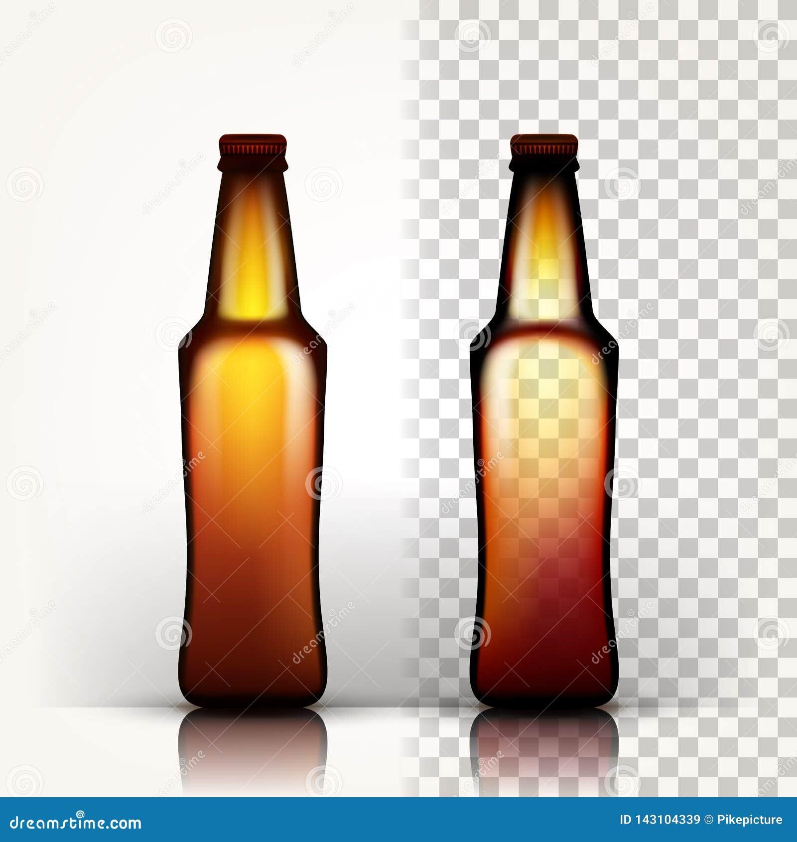 Вектор пивной бутылки Пустое стекло для пива ремесла Шаблон пробела модель-макета brougham прозрачное изолированное реалистическо
