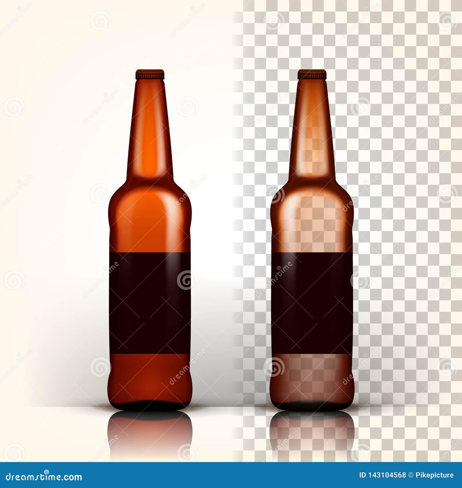Вектор пивной бутылки Упаковка продукта brougham Реклама дизайна прозрачная изолированная реалистическая иллюстрация 3D