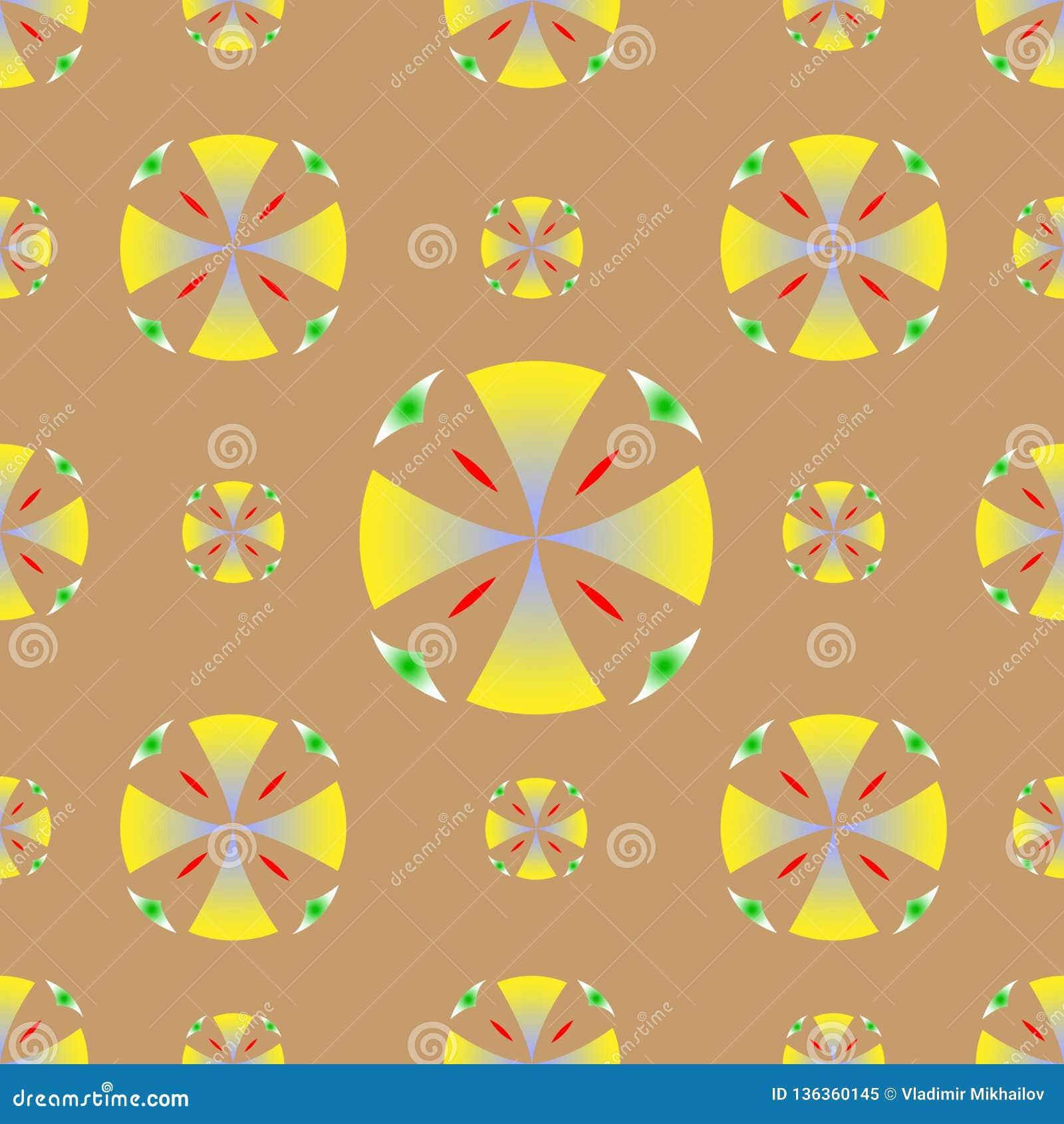 Вектор предпосылки кругов безшовной текстуры желтый