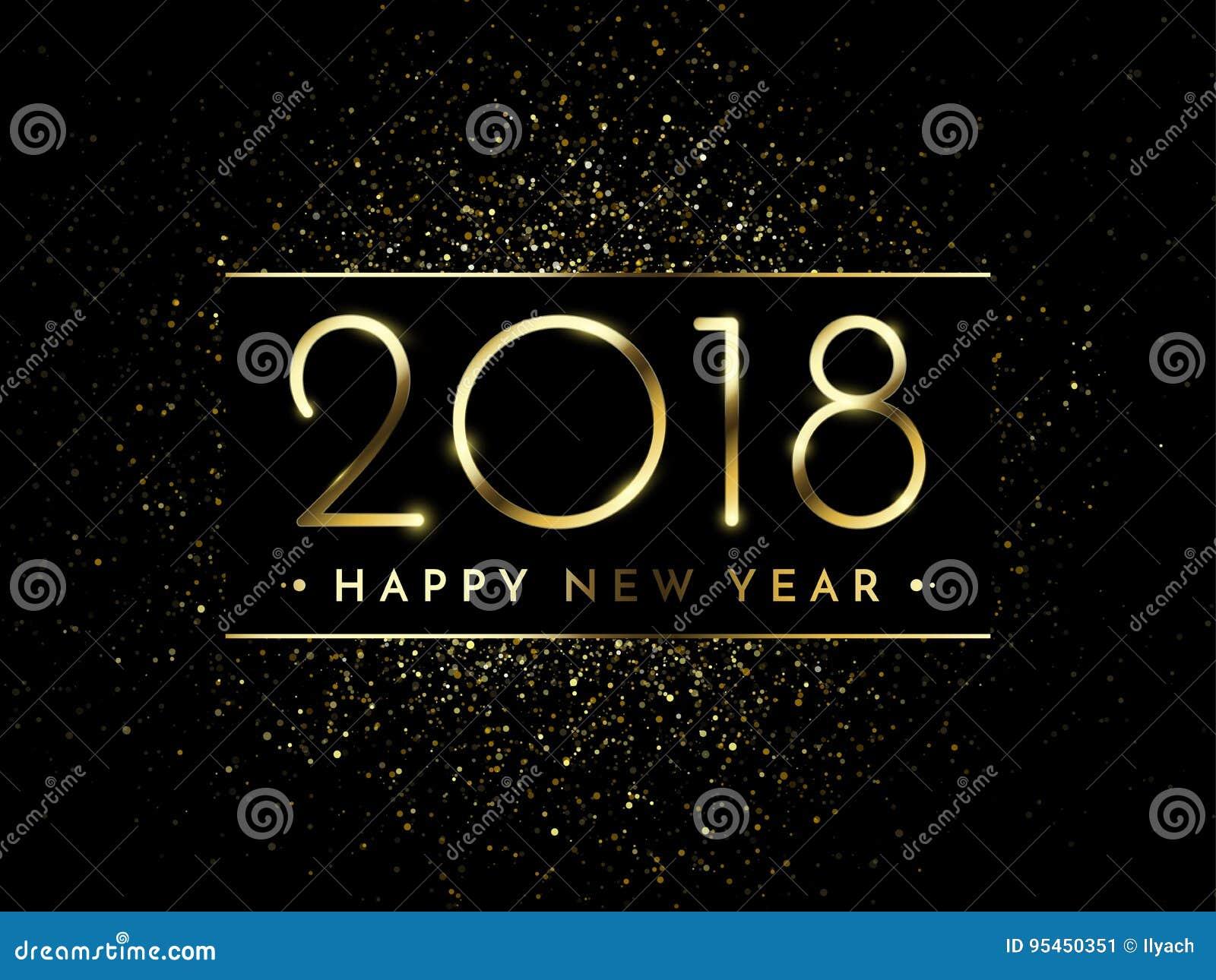 Вектор предпосылка черноты 2018 Новых Годов с текстурой splatter confetti яркого блеска золота