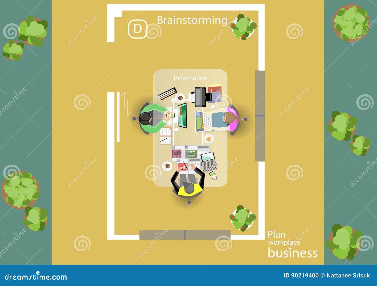 Вектор работает побежка для деловых встреч и метода мозгового штурма Знамена концепции и сети плана анализа, печатные СМИ и перед
