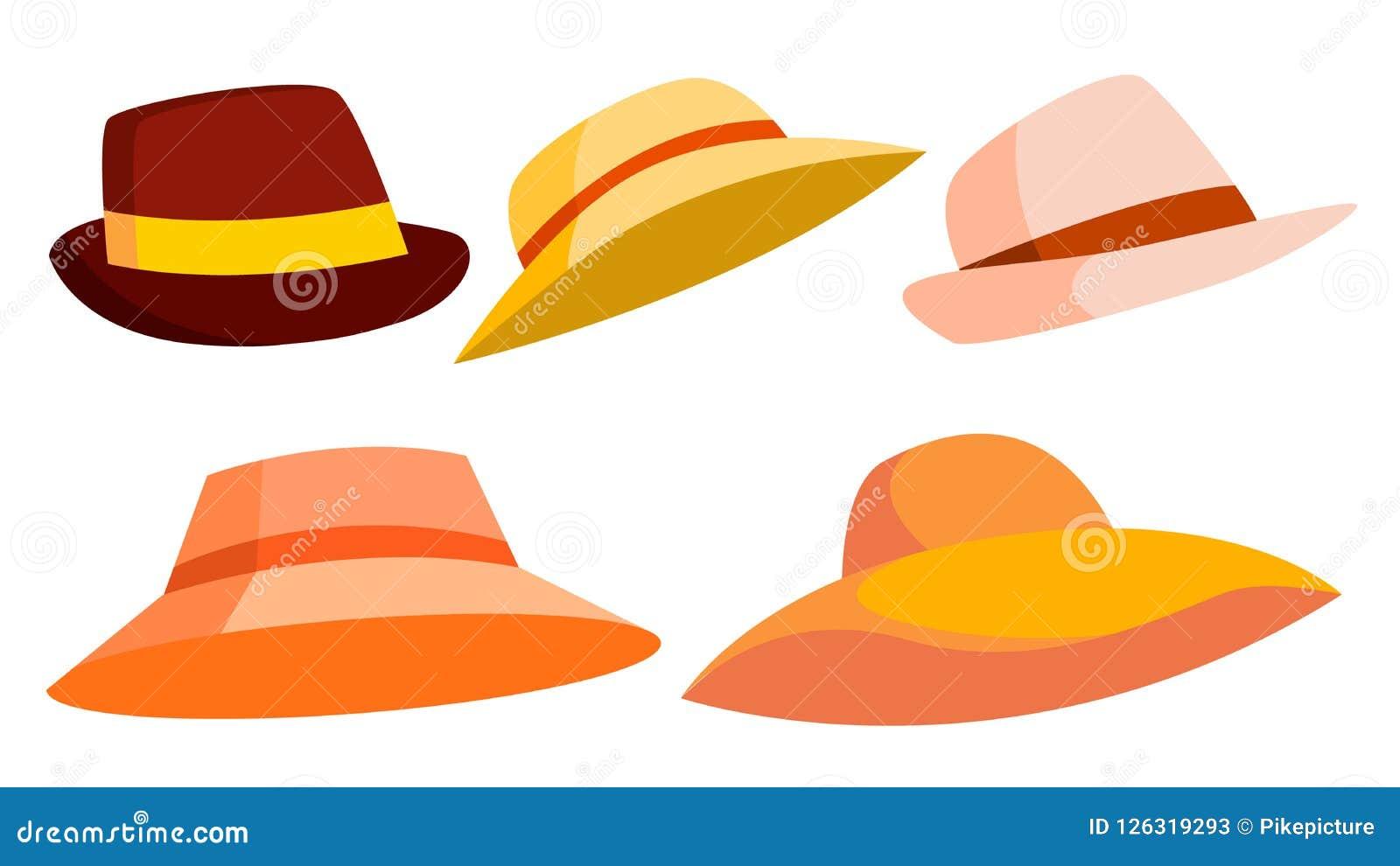 Вектор ретро шляпы установленный brougham Классическая традиционная шляпа для человека, элегантной женщины Мода ткани головная Из
