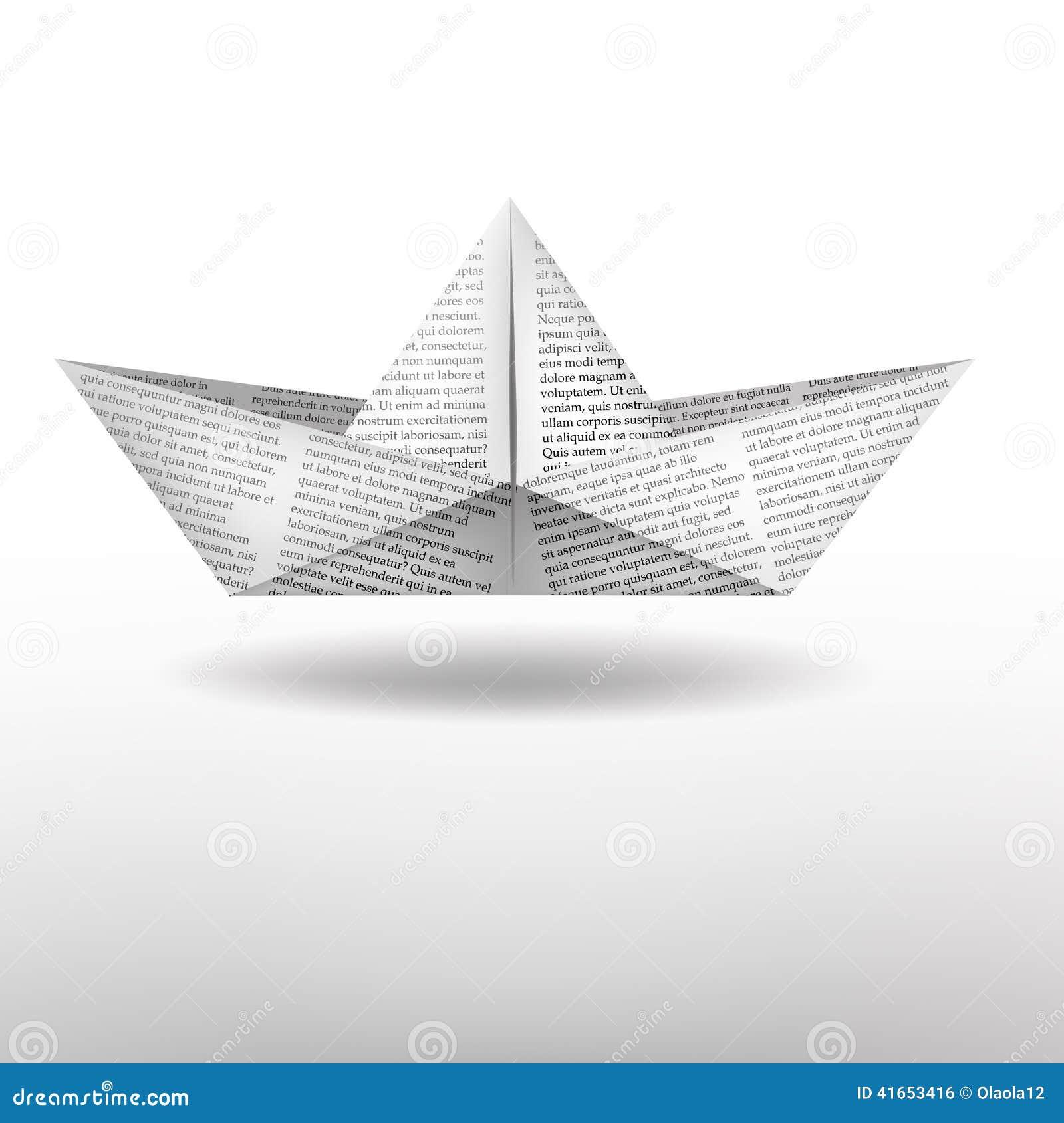 вектор схемы бумаги origami изготавливания плана шлюпки