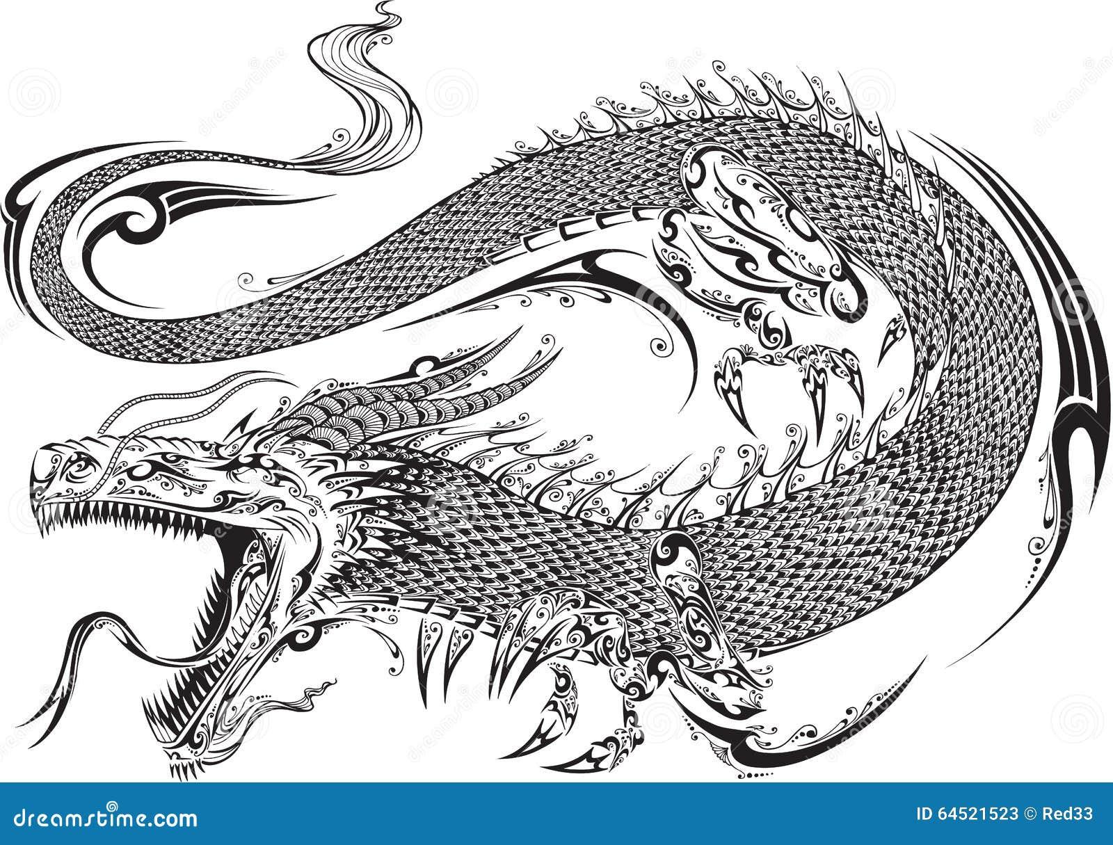 Вектор татуировки дракона племенной