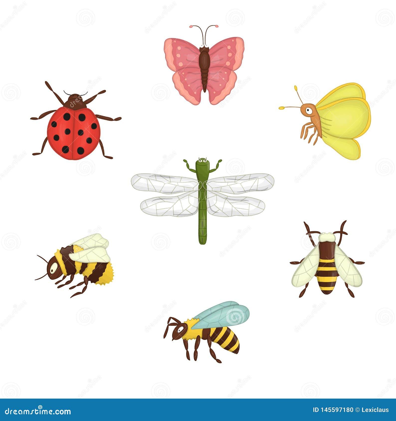 Вектор установил покрашенных насекомых