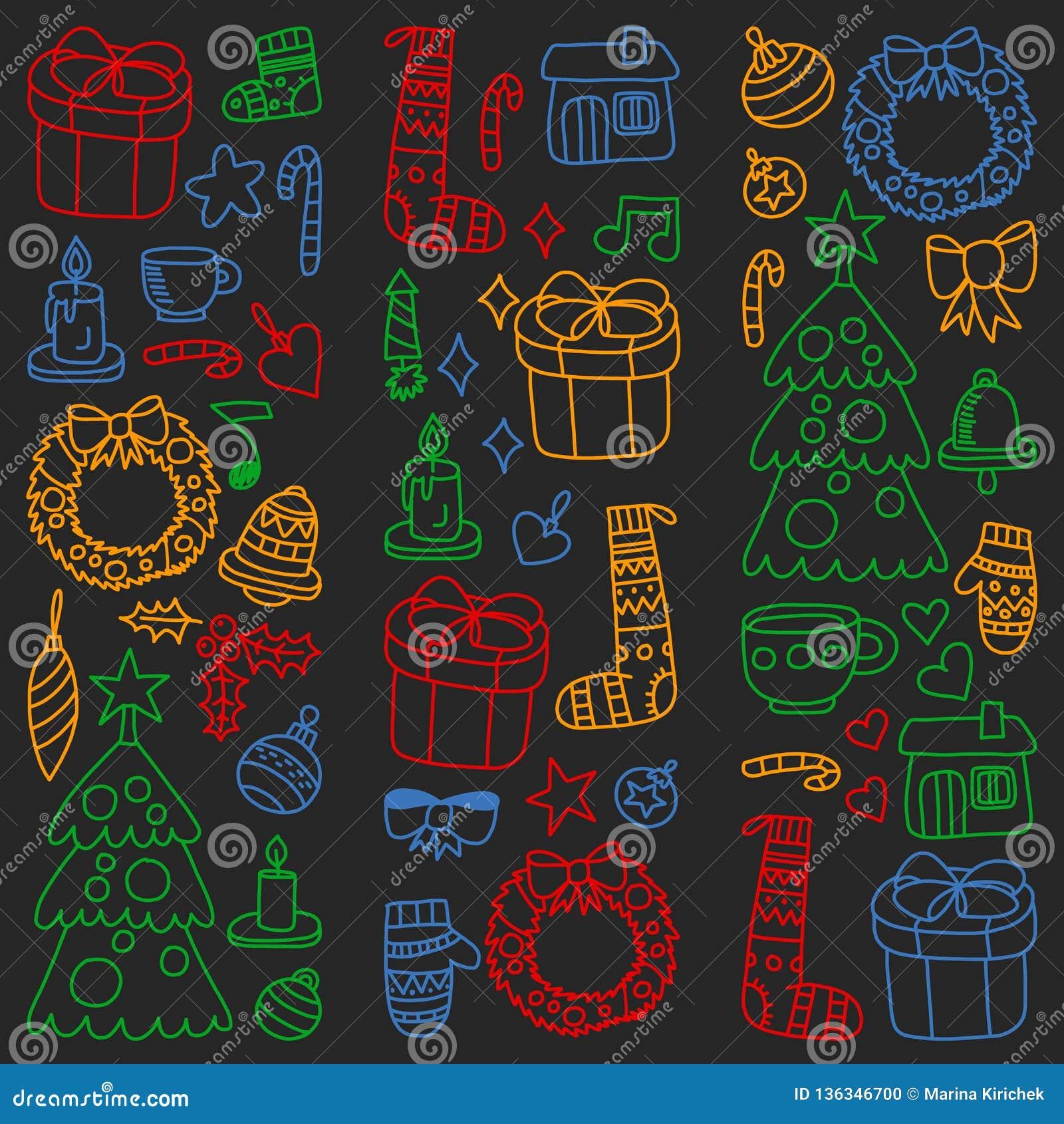 Вектор установил рождества, значков праздника в стиле doodle Покрашенный, красочный, изображения на куске бумаги на классн классн