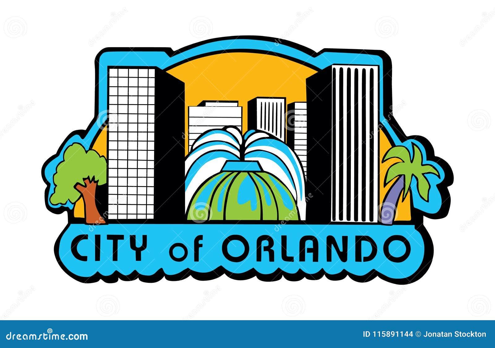 Вектор флага Орландо, Флориды США, экран города Орландо