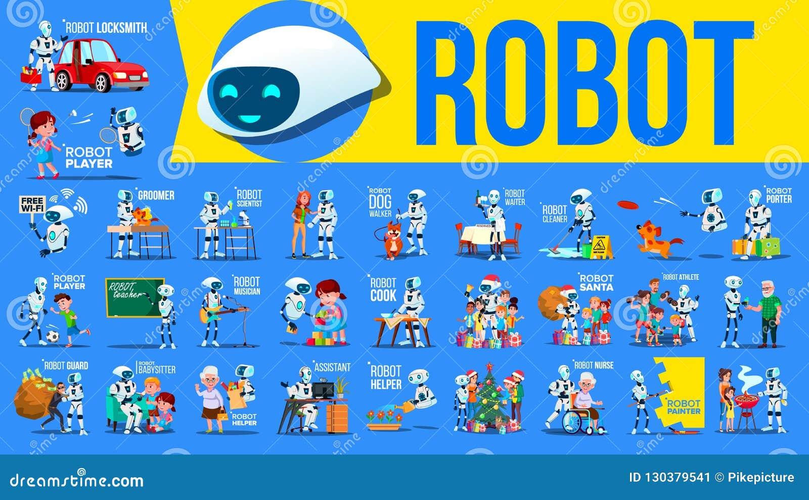Вектор хелпера робота установленный Будущие ситуации образа жизни Работа, связывая совместно Киборг, гуманоид AI футуристический