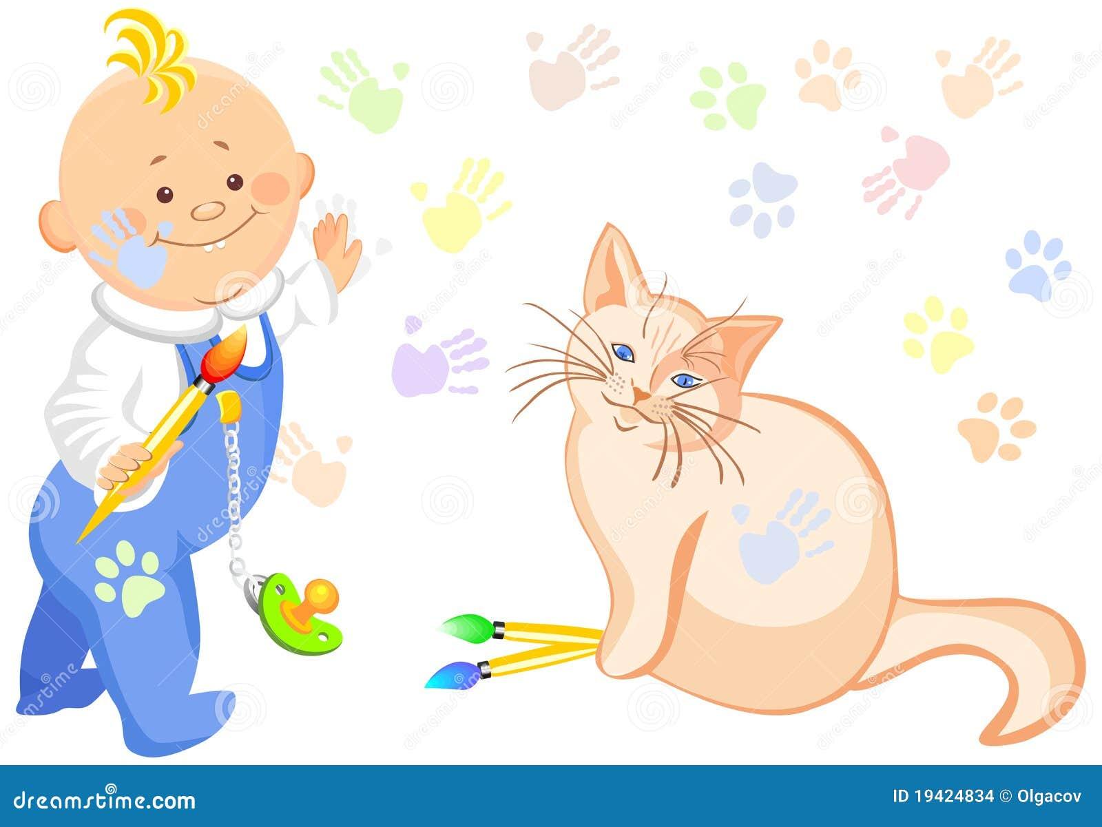 вектор чертежа кота ребёнка