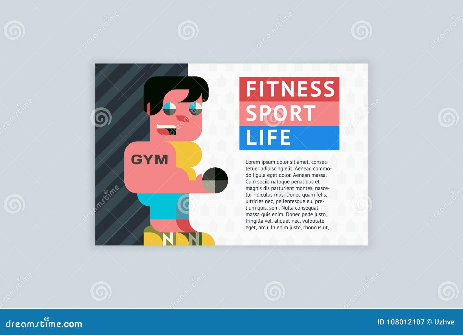 Вектор шаблона A4 горизонтальный для рогулек, крышек, плакатов Фитнес, спорт, жизнь
