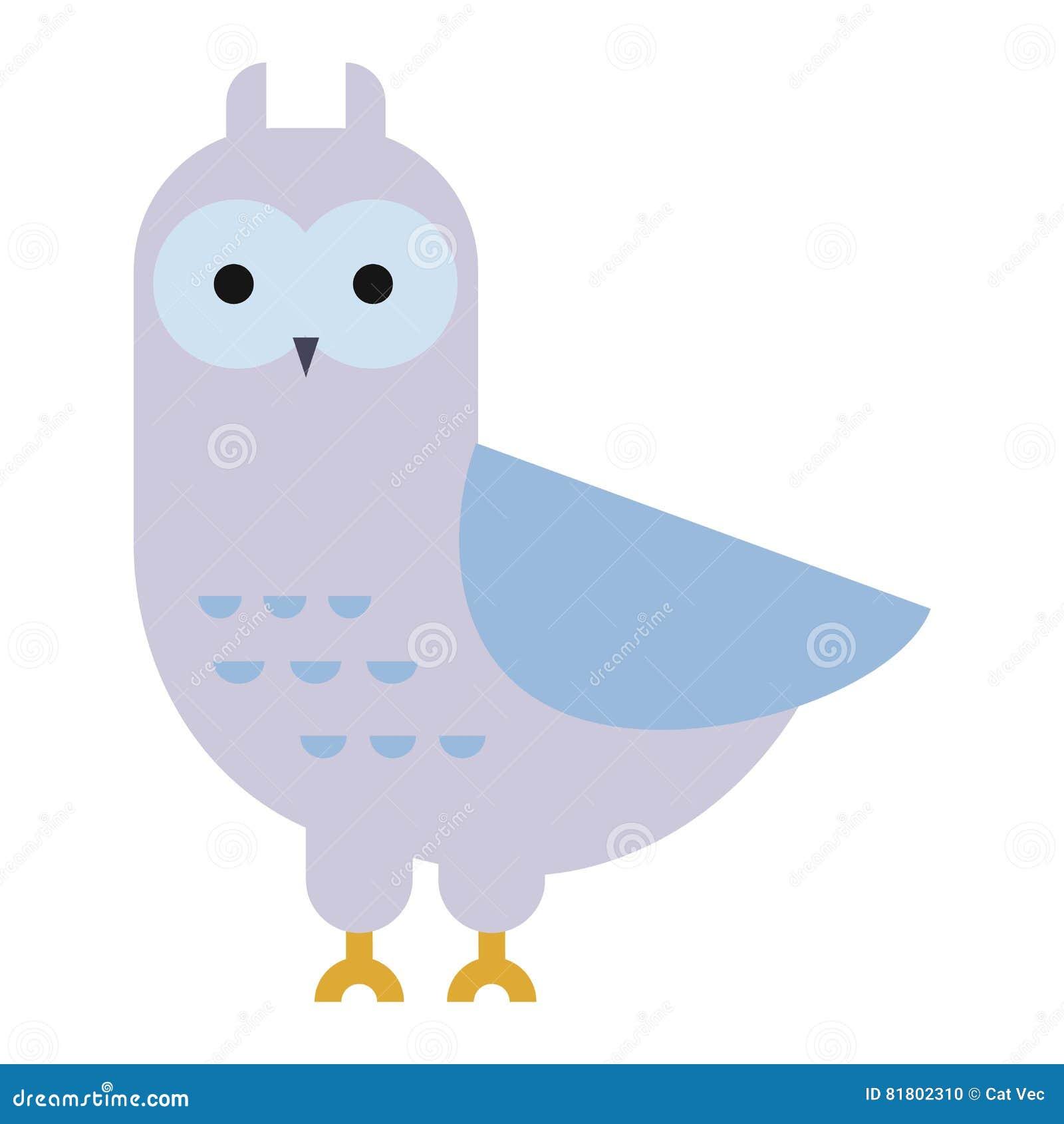 Вектор шаржа птицы сыча одичалый