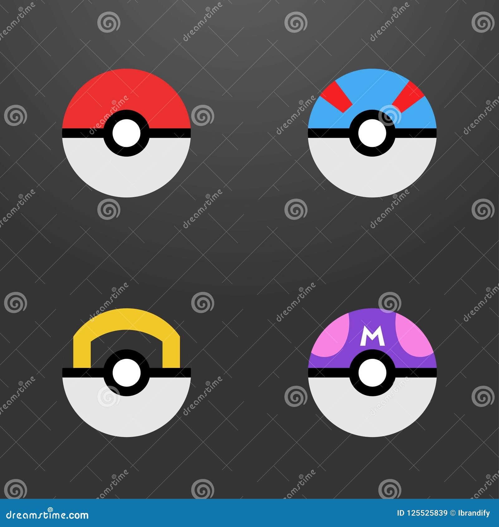 Вектор шариков Pokemon установленный значками