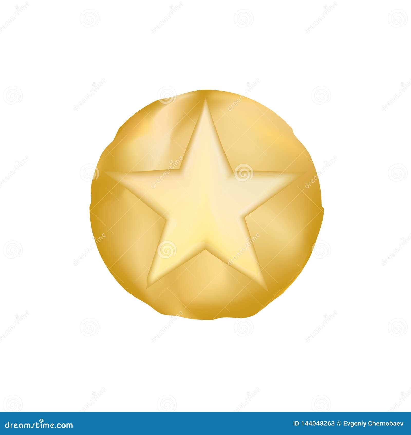Вектор eps10 звезды шерифа ЗОЛОТА звезда старого стиля от Техаса Звезда шерифа вектора золотая над белой предпосылкой
