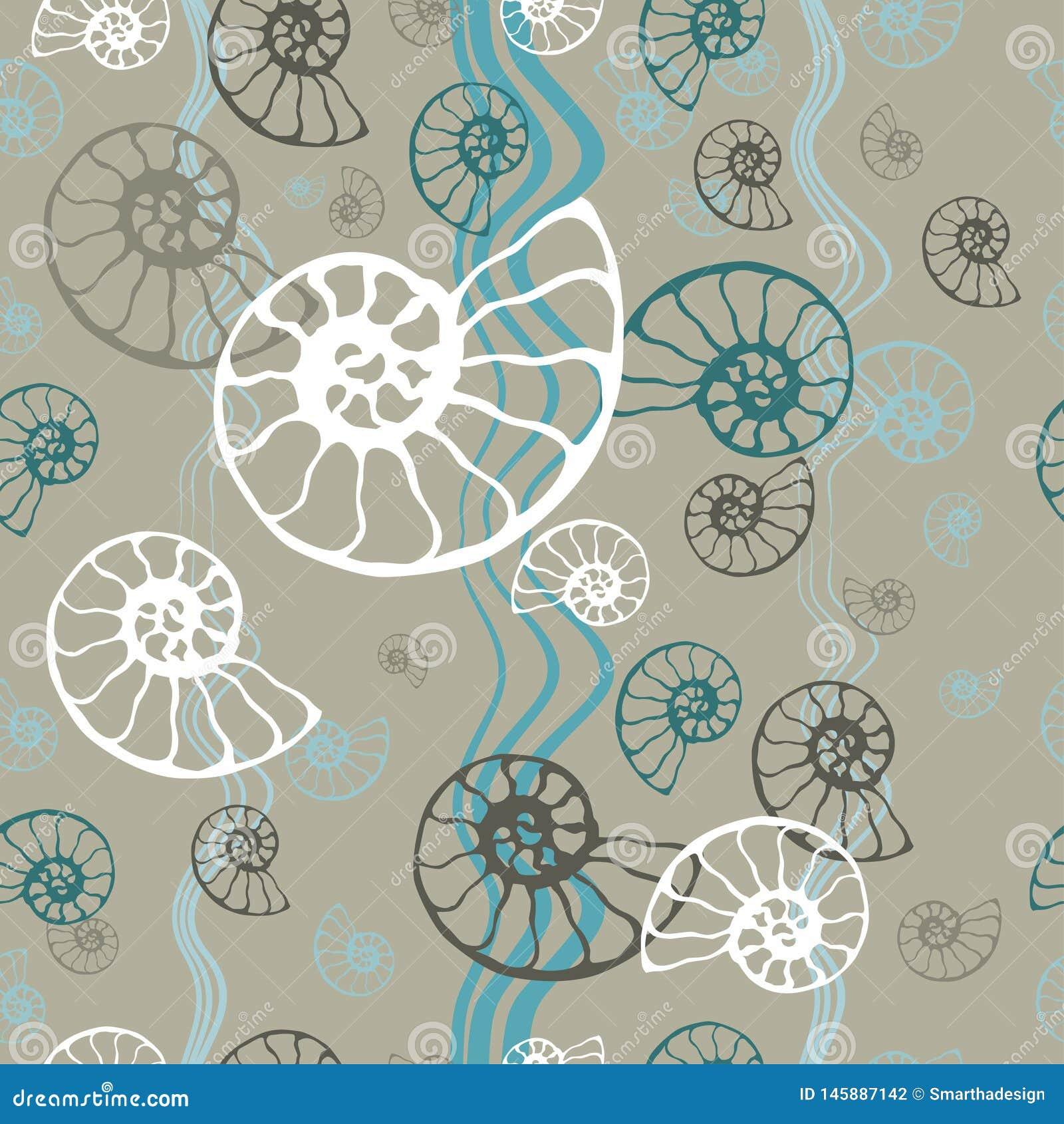 Вектор seashell nautilus аммонита безшовной голубой картины моря ископаемый Иллюстрация руки вычерченная для салона спа, кафа мор