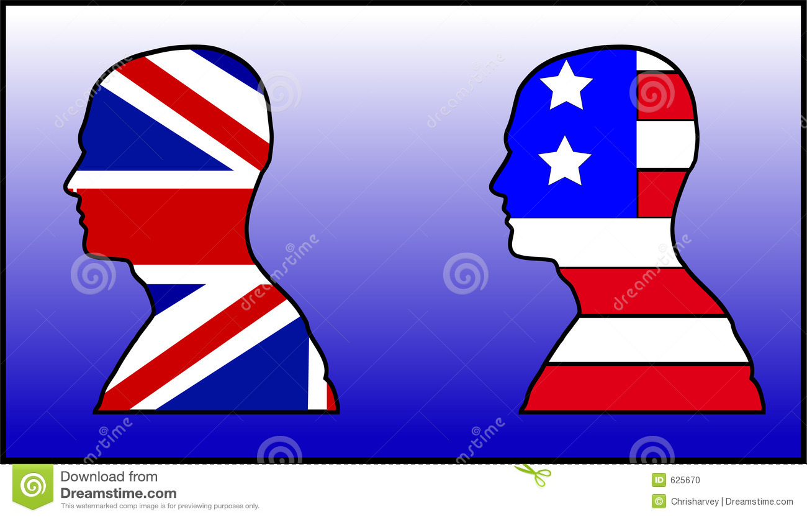 Download Великобритания и американская головка Иллюстрация штока - иллюстрации насчитывающей страна, bodysuits: 625670