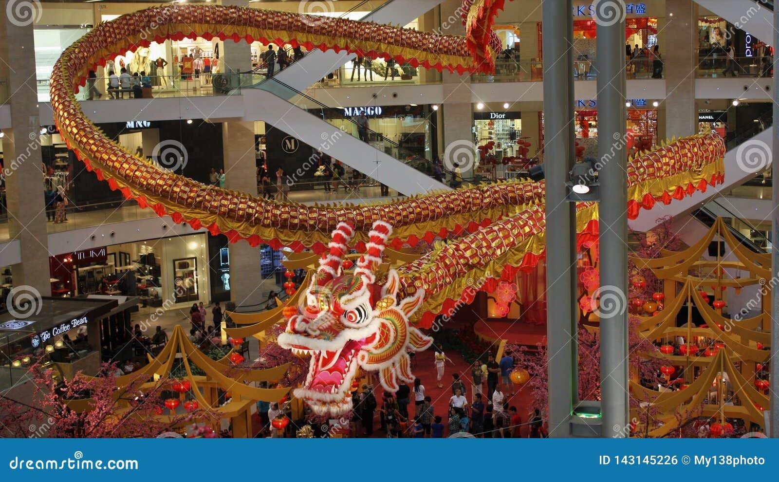 Величественные 600 длинного ft дисплея дракона на павильоне Куалае-Лумпур Малайзии