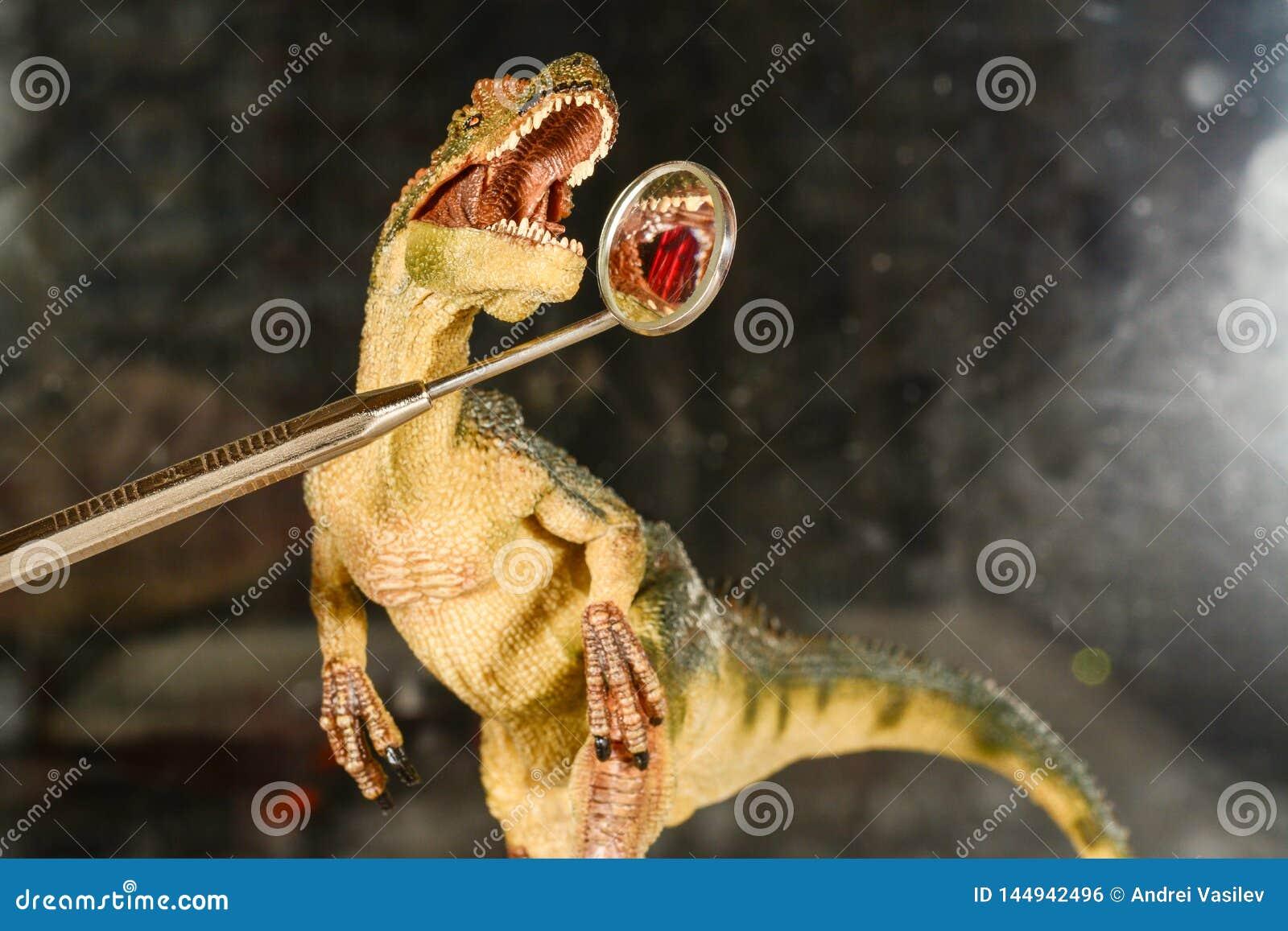 Велоцираптор динозавра смотрит зубы в зубоврачебном зеркале Концепция зубоврачебной заботы Динозавр игрушки на приеме