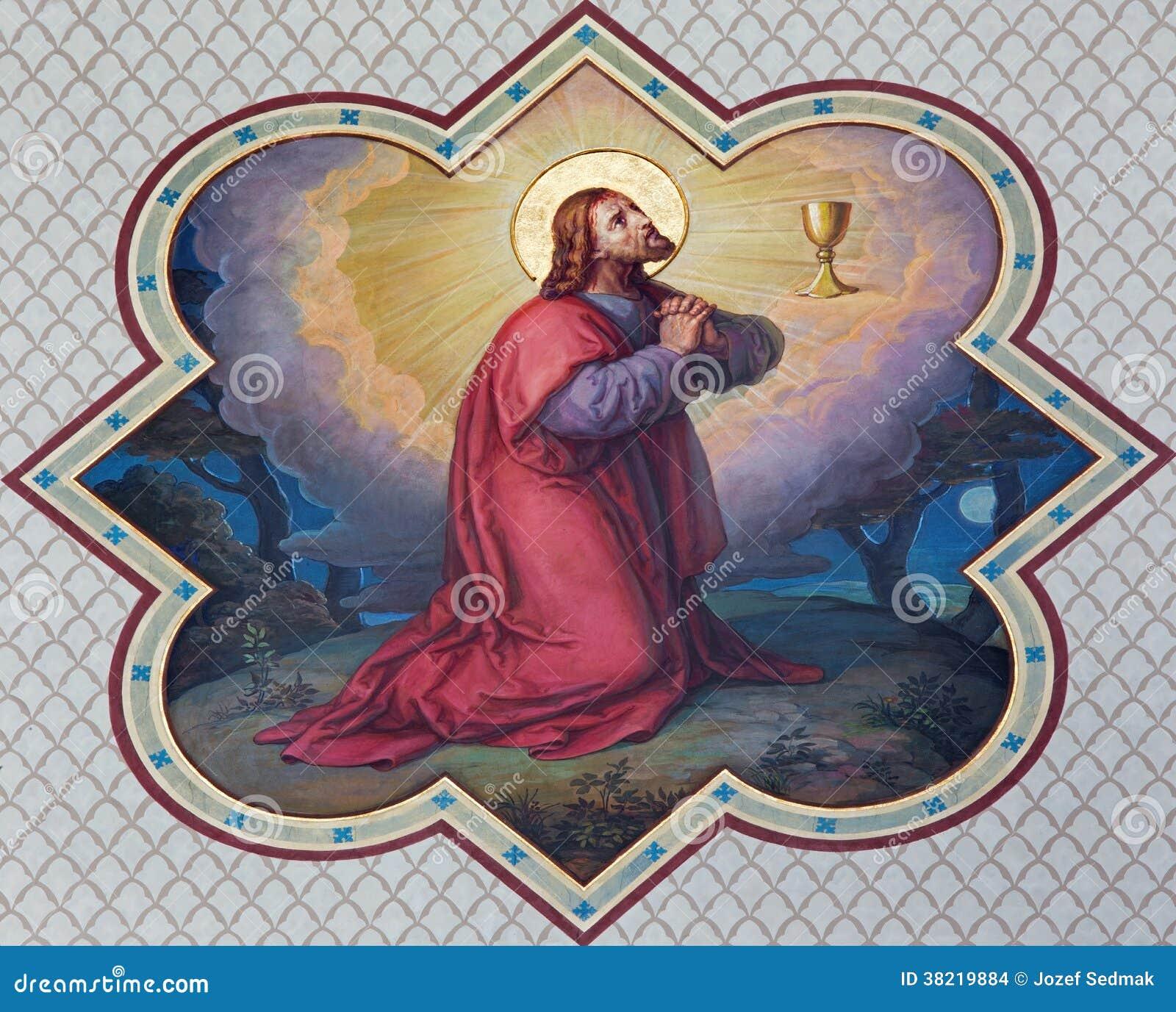 Вена - фреска молитвы Christs в Gethsemane