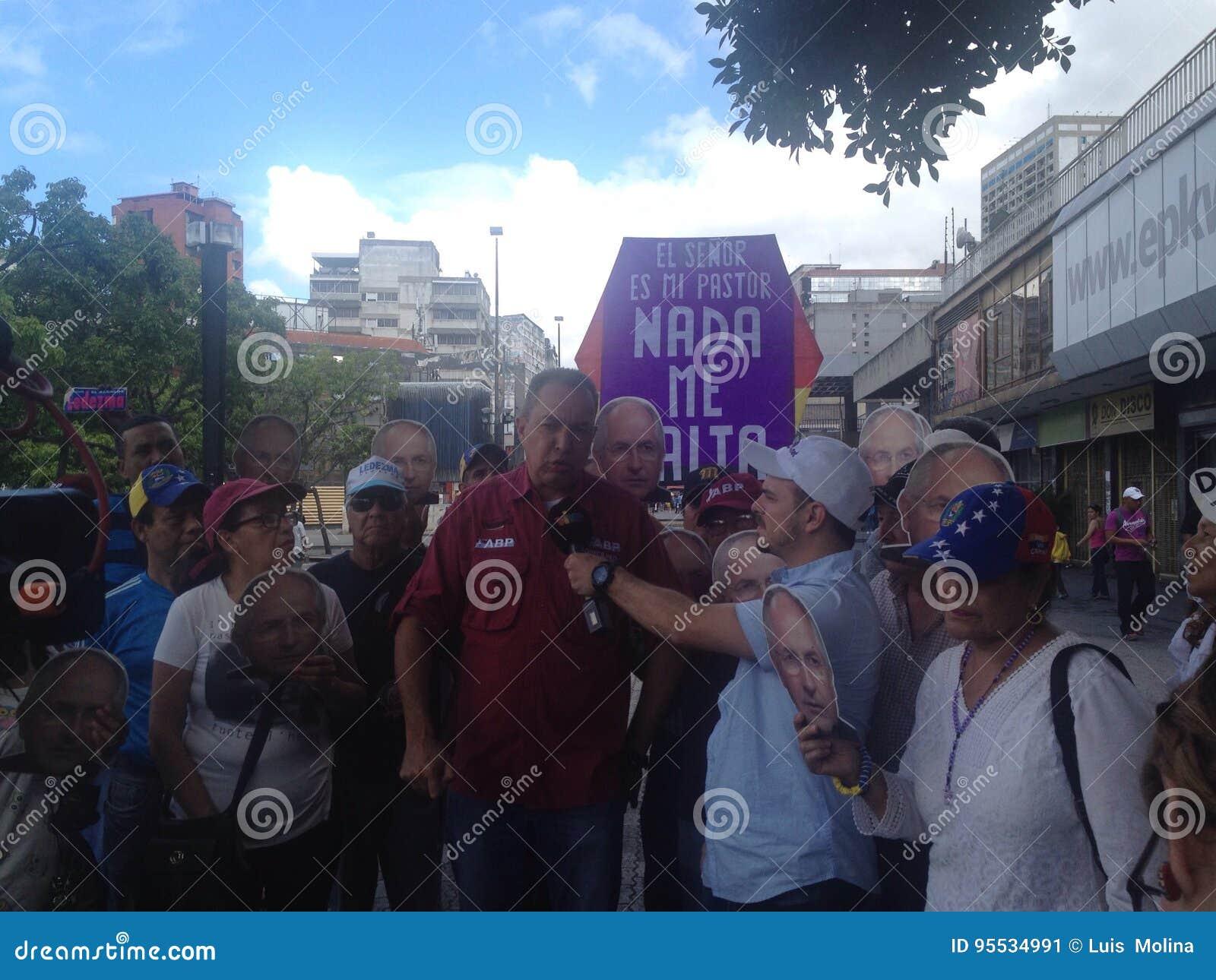 Венесуэльские протесты Ричарда Blanco конгрессмена в Венесуэле
