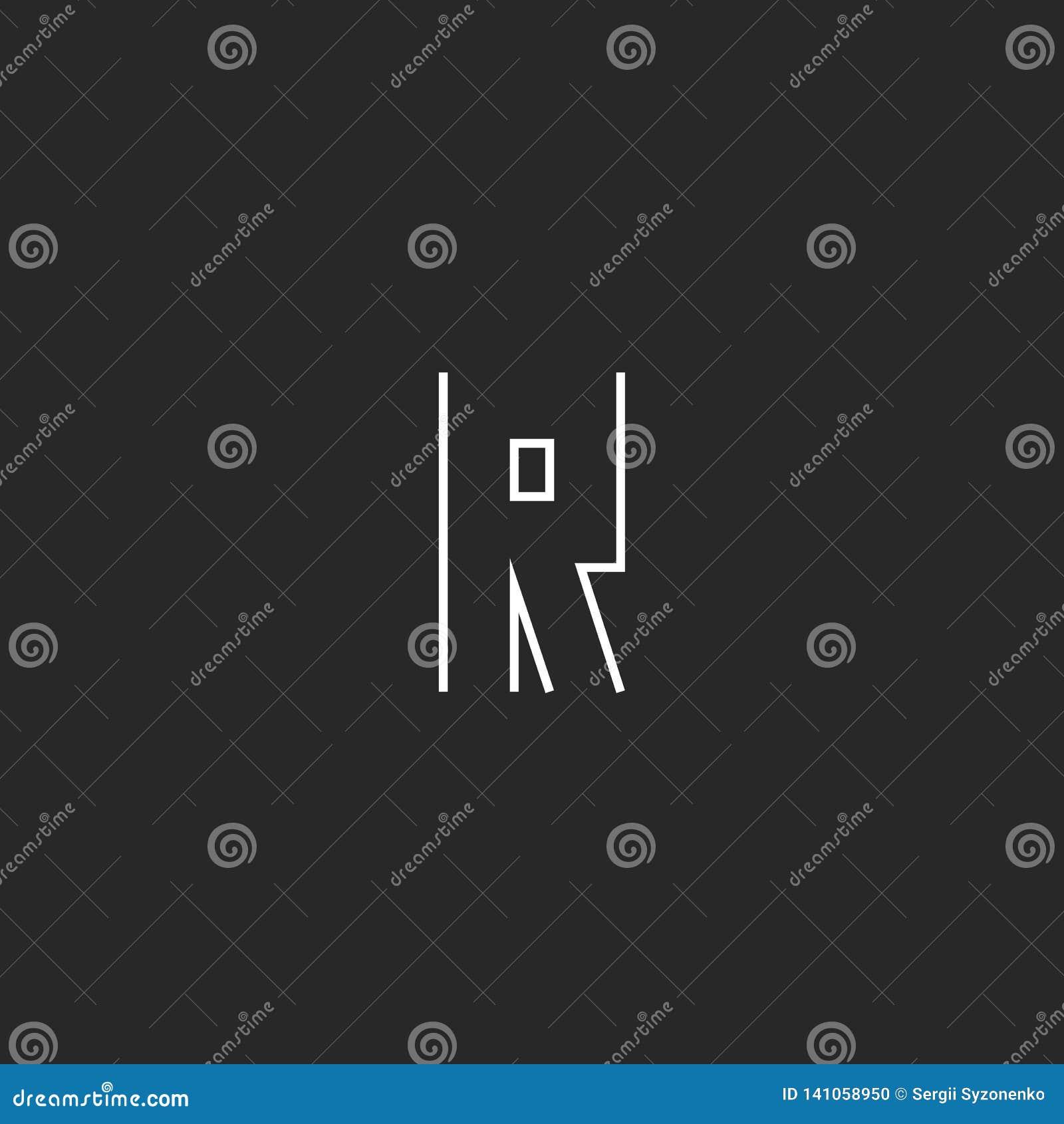 Вензель логотипа письма хипстера r, первоначальный современный линейный модель-макет эмблемы