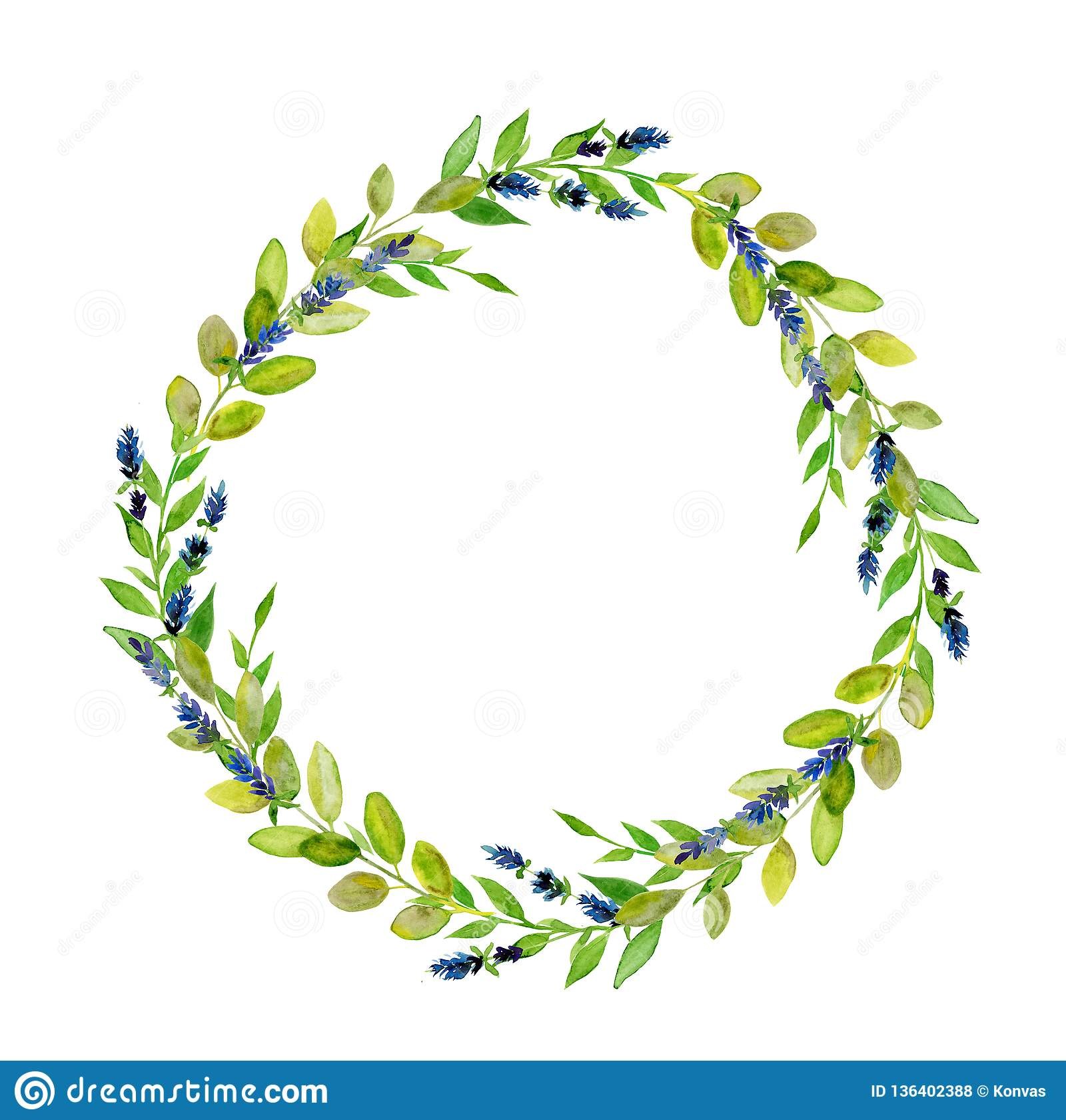 Венок лист Handpainted акварели круглый зеленый