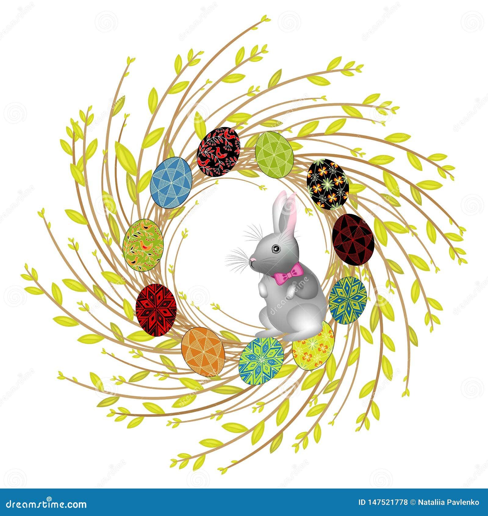 Венок от молодых ветвей вербы Состав украшен с красивыми пасхальными яйцами Внутрь кролик Символ весны