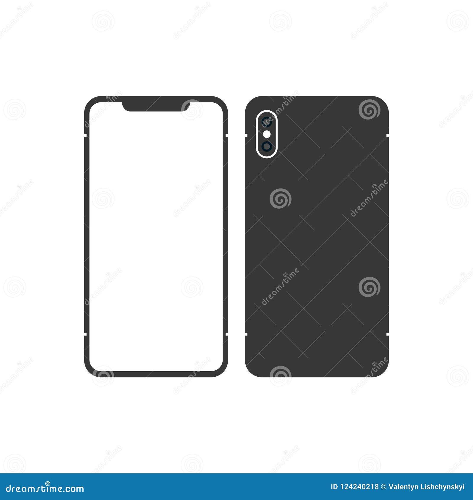 версия smartphone черноты тонкого подобного к iphone x с пустым экраном зацепляет икону