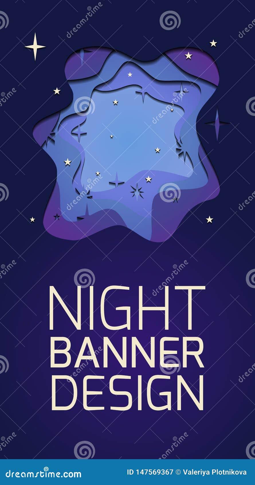 Вертикальное знамя с иллюстрацией слоя 3d ночи с отрезком звезд из бумаги и места для текста o