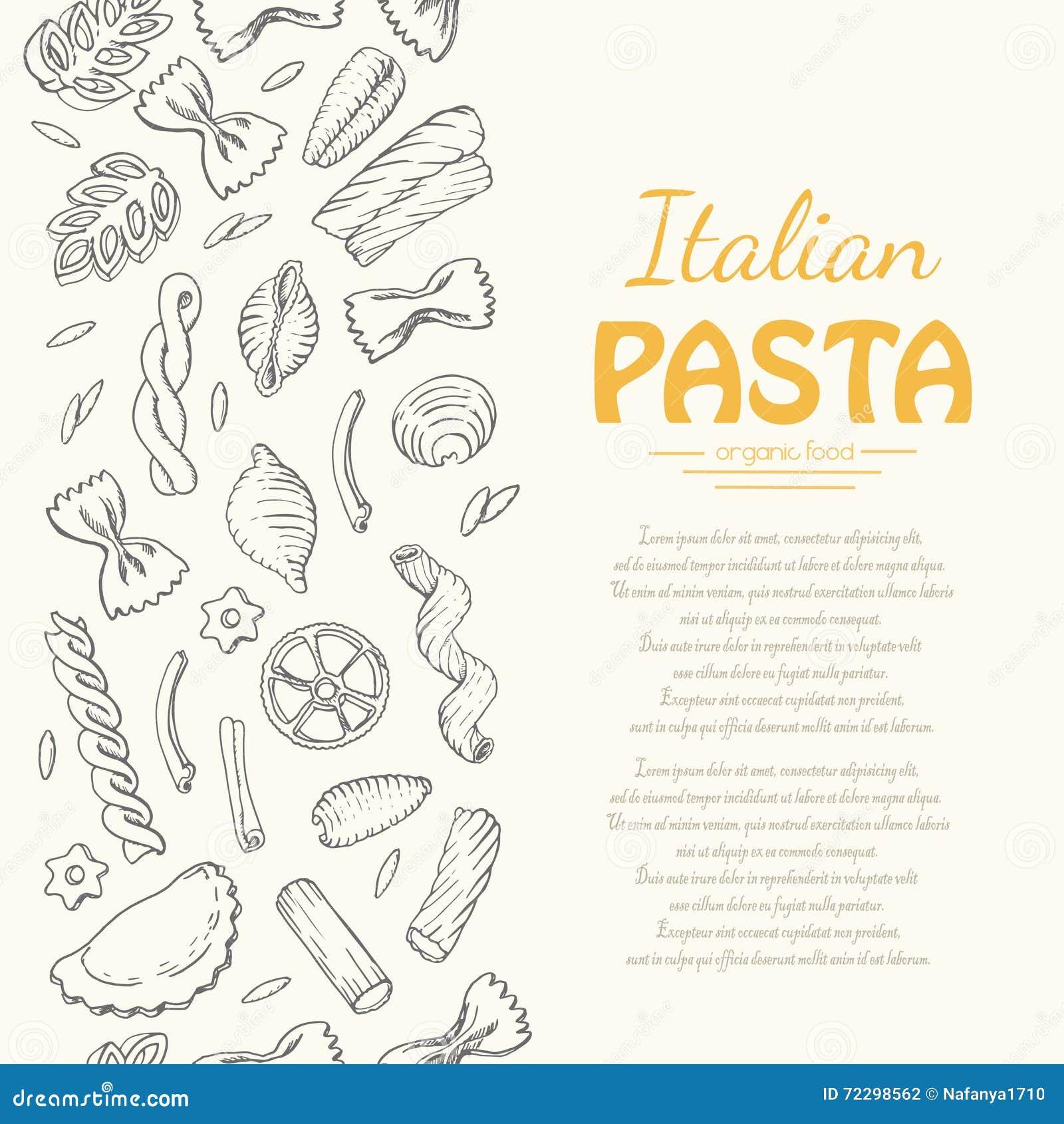 Download Вертикальная безшовная картина с итальянскими макаронными изделиями Иллюстрация вектора - иллюстрации насчитывающей ресторан, безшовно: 72298562