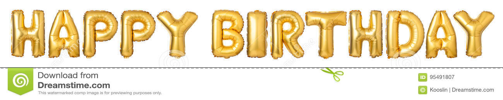 верхний - покрывайте письма С ДНЕМ РОЖДЕНИЯ от золотых воздушных шаров