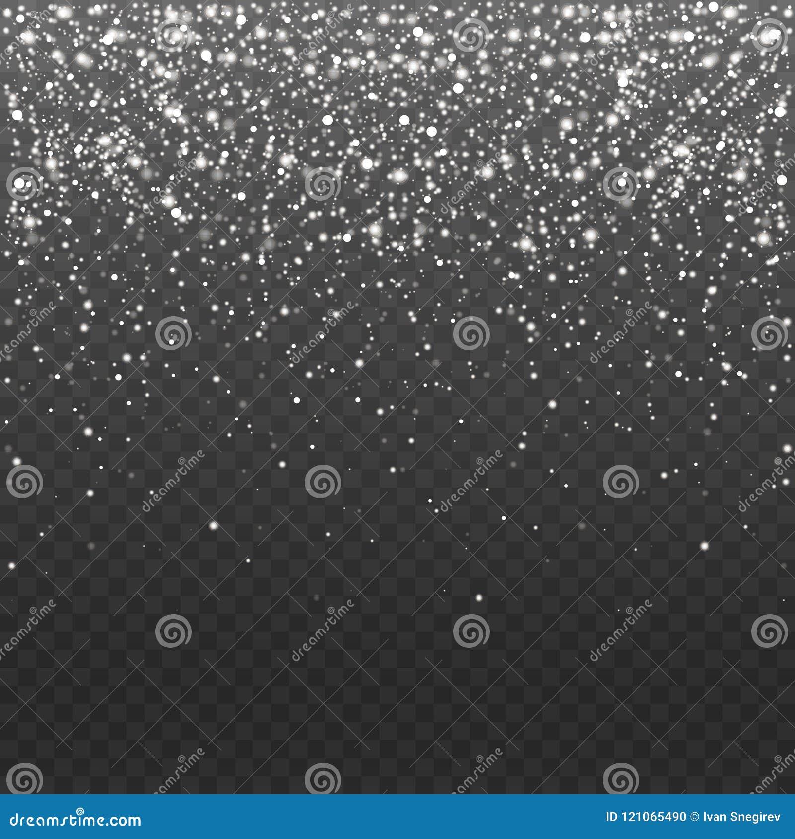 Верхний слой снега иллюстрации вектора запаса падая Снежинки, снежности предпосылка прозрачная Падение снега, вьюги, пурга,