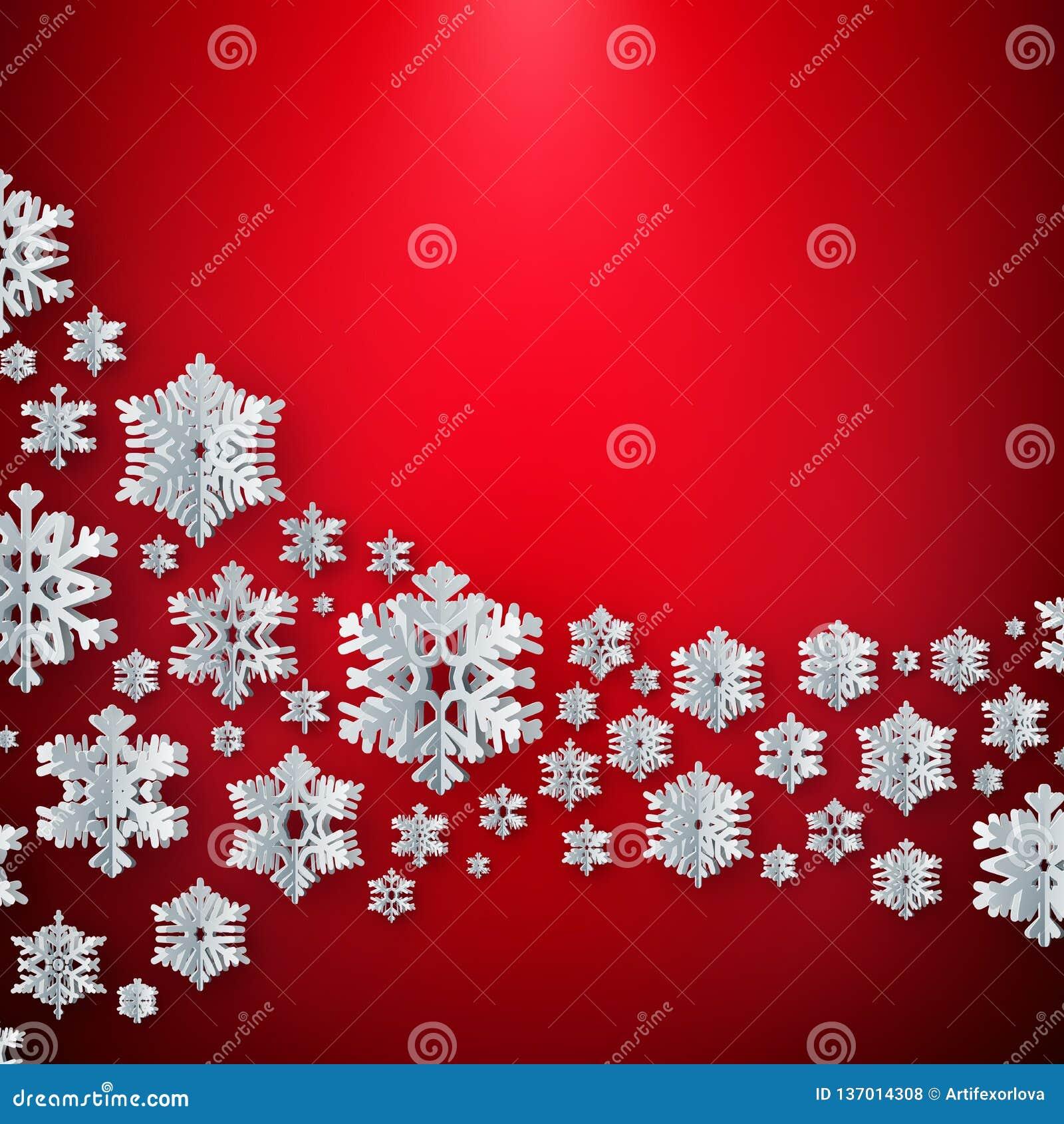 Веселое рождество и снежинки счастливого Нового Года бумажные на красной предпосылке 10 eps