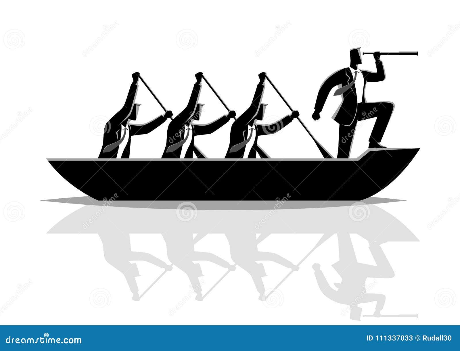 Весельная лодка сыгранности силуэта бизнесмена