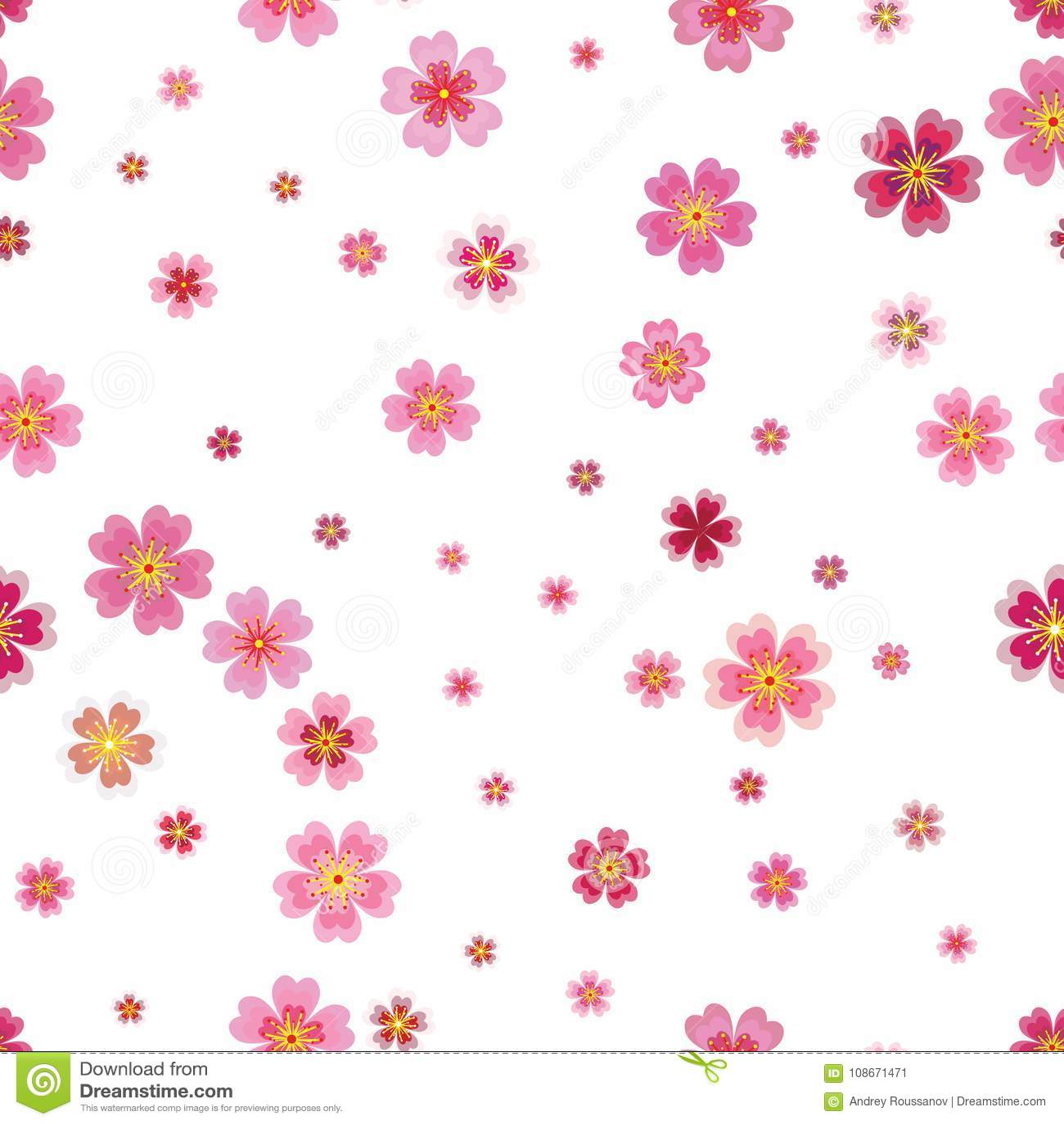 Весна Сакуры розовой вишни японская цветет безшовная картина Tre