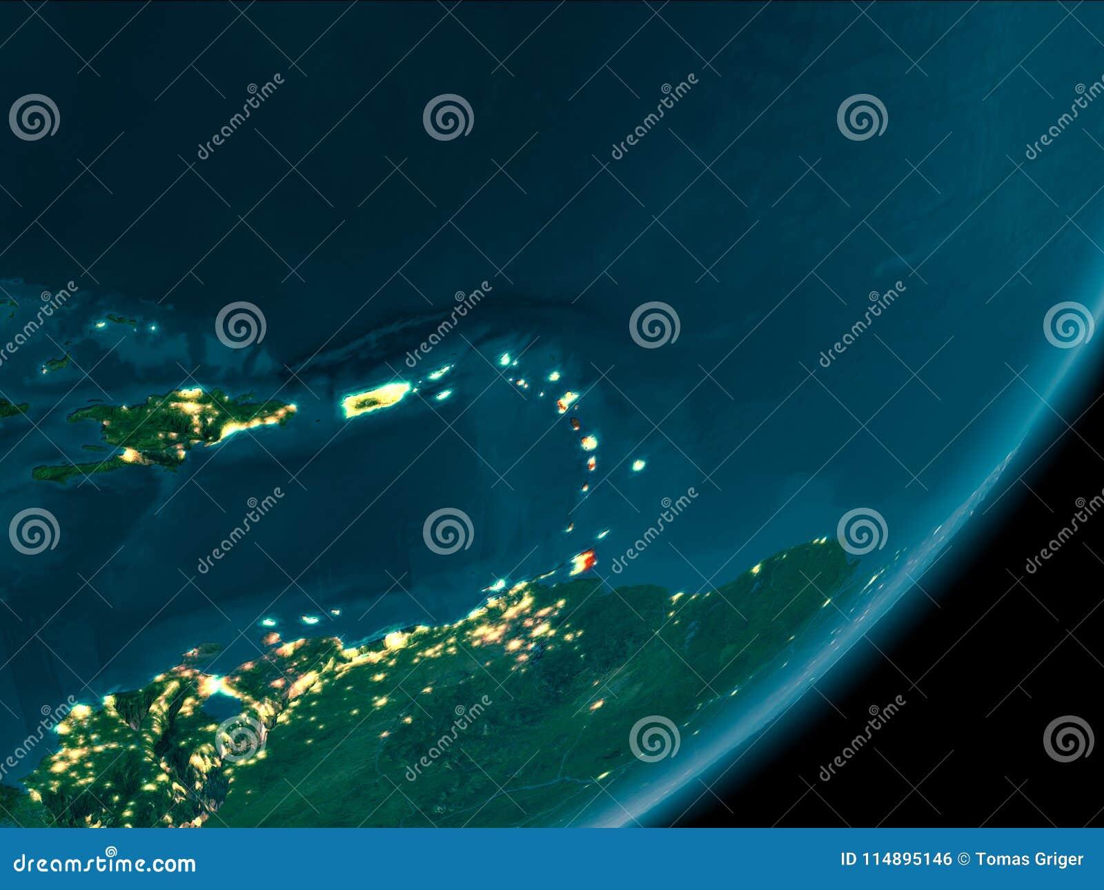 Вест-Инди от космоса на ноче