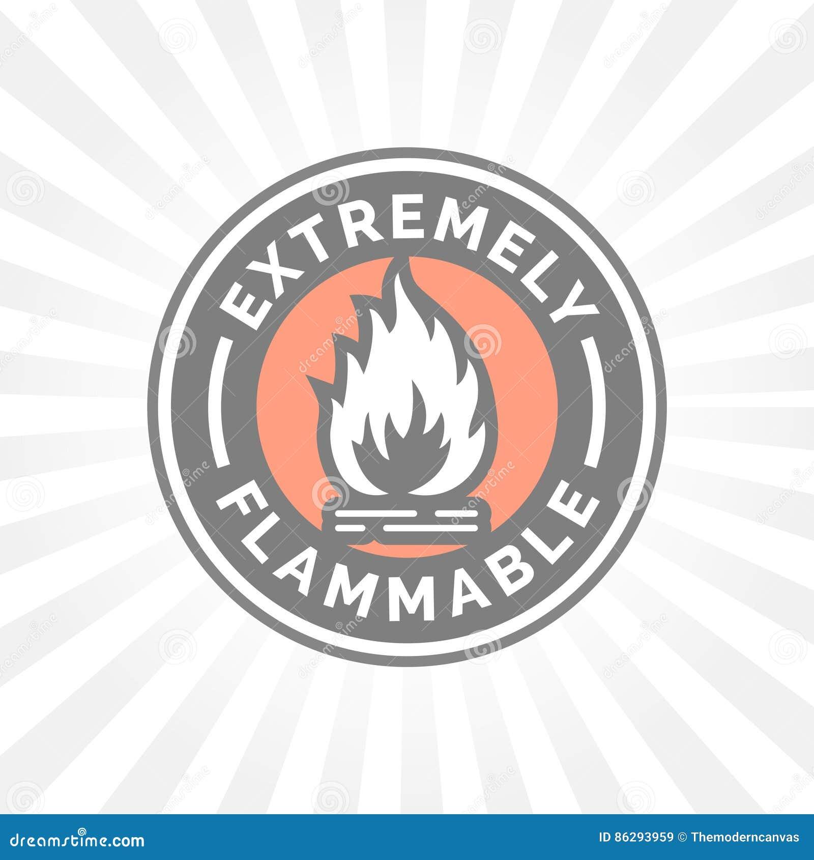 Весьма воспламеняющий значок Знак опасности пожара Символ пламени предосторежения