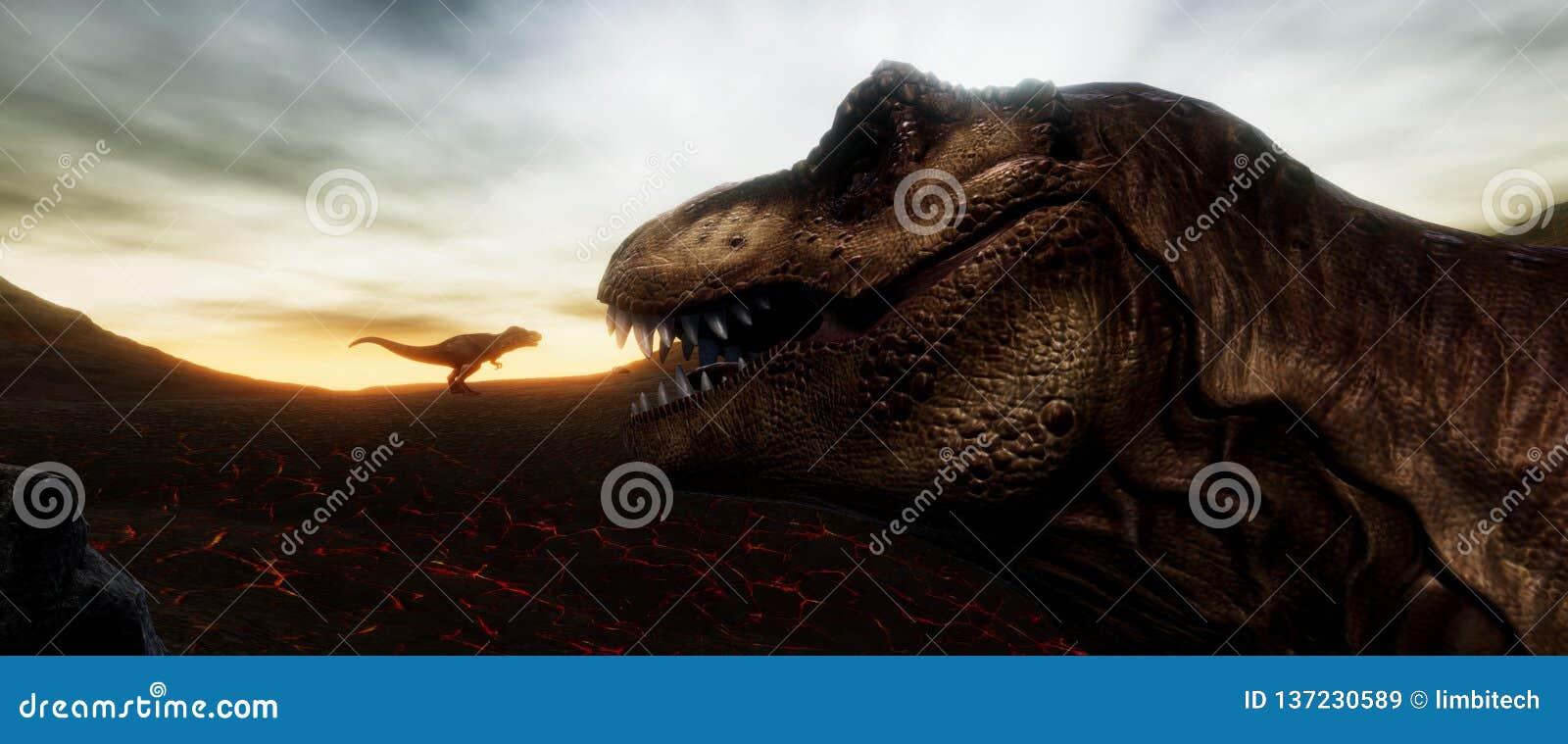 Весьма детальное и реалистическое высокое illustratation разрешения 3d динозавра T-Rex во время вымирания динозавров