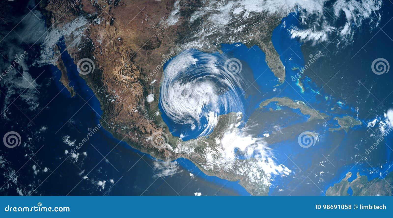 Весьма детальная и реалистическая высокая иллюстрация разрешения 3D урагана причаливая США Снятый от космоса